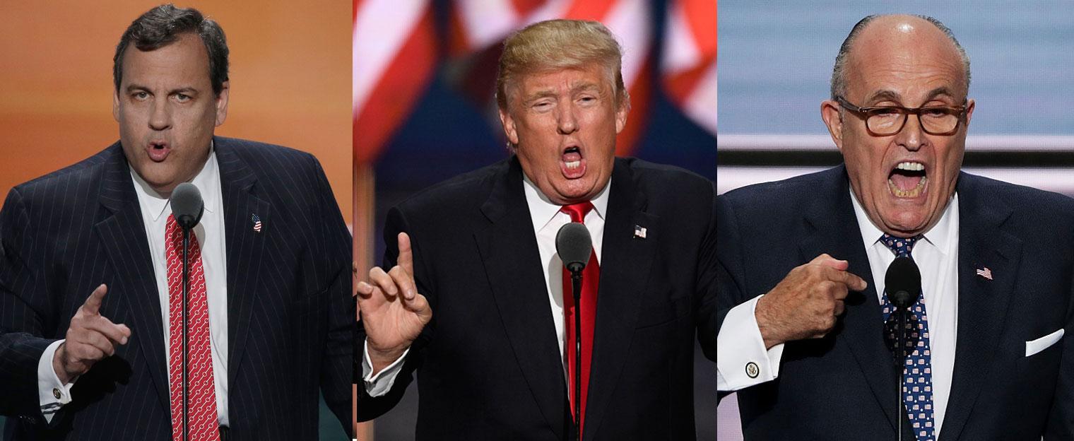 Chris Christie, Donald Trump, and Rudy Giuliani, Cleveland, Ohio, 2016