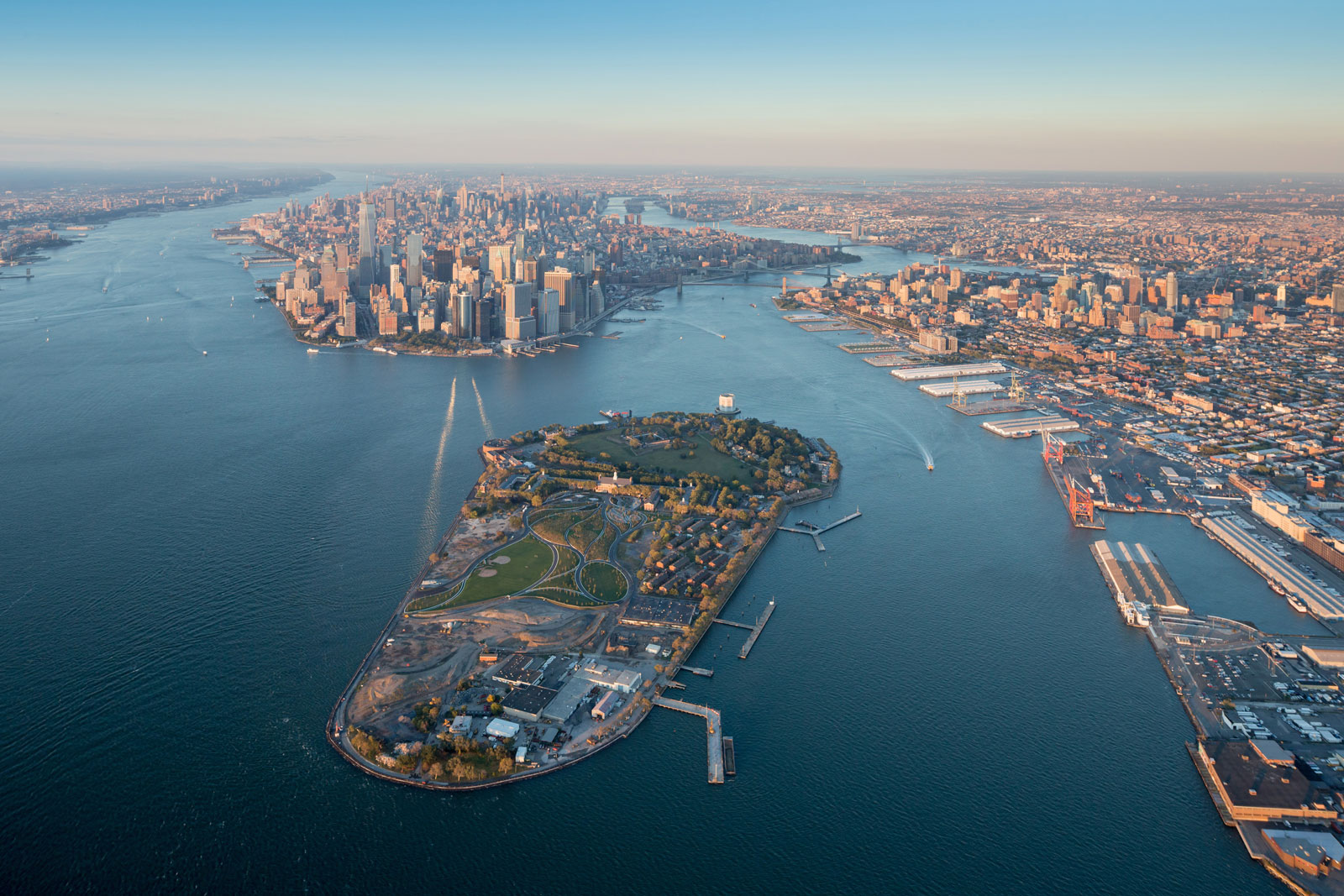 Aerial view of Governors Island with the Hills under construction at bottom left, 2015