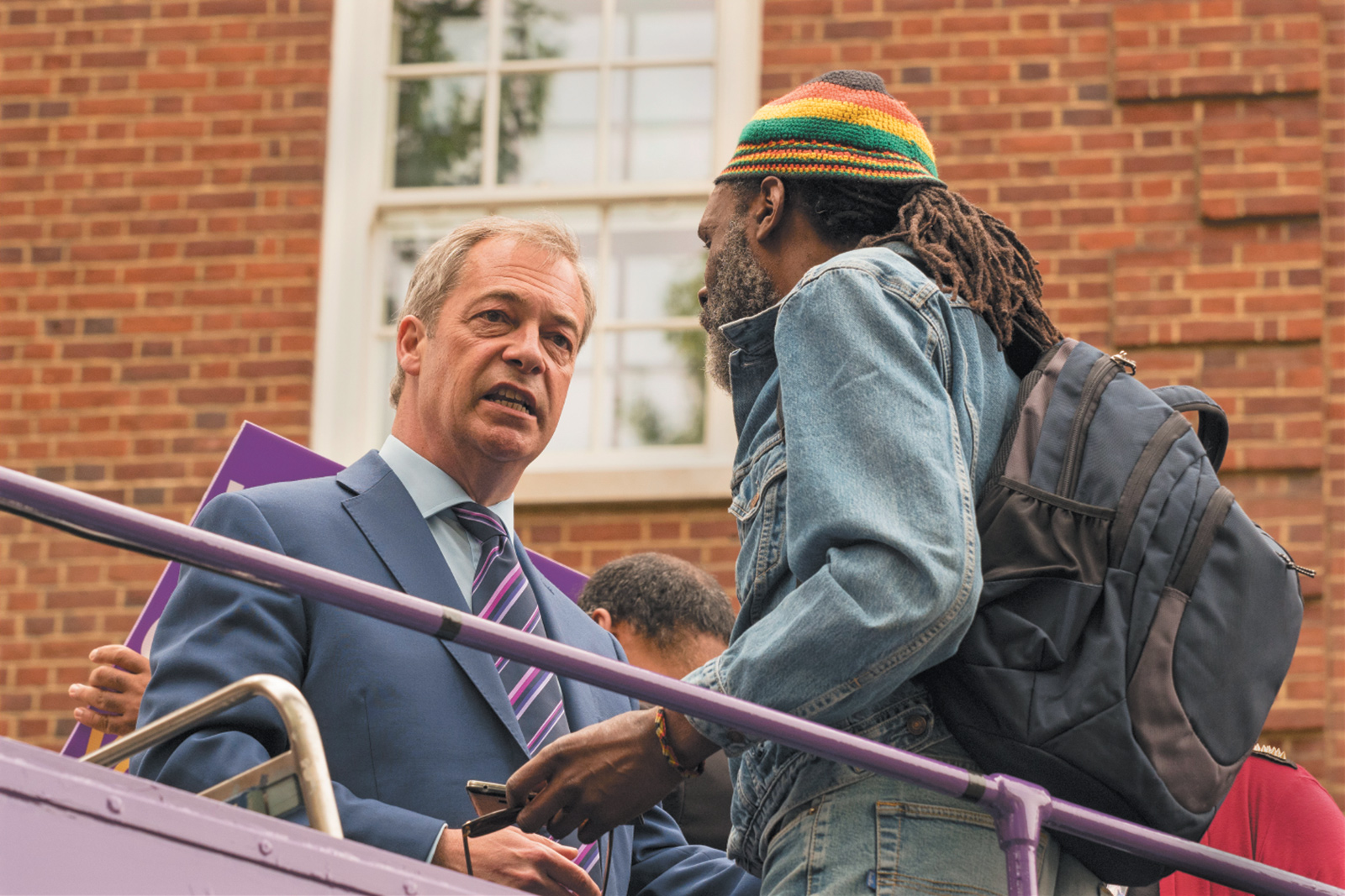 Nigel Farage canvassing for 'Leave' votes during the Brexit campaign, London, May 2016. He resigned as leader of the UK Independence Party on July 4, shortly after the referendum.
