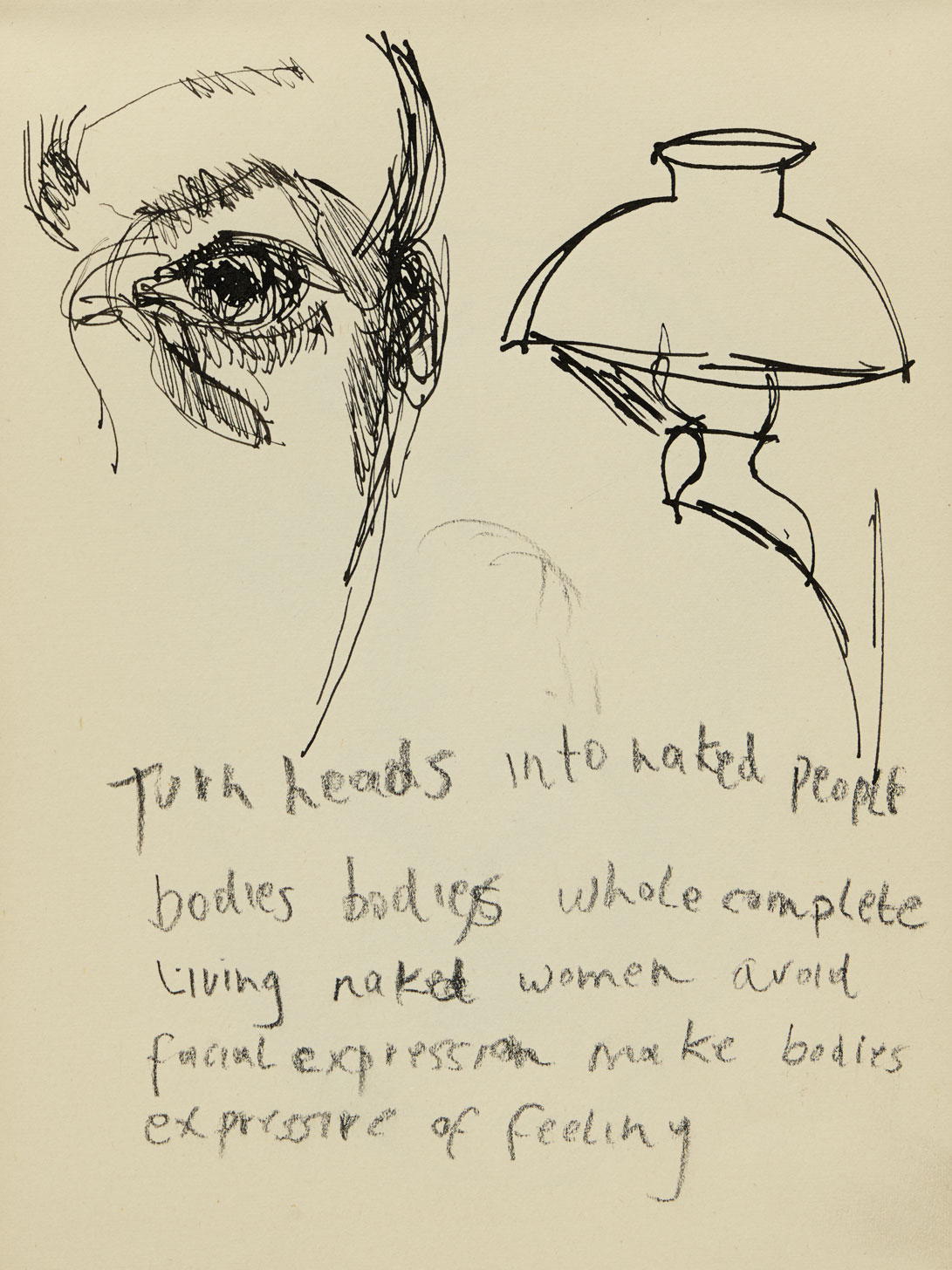 Lucian Freud: Self-portrait with lamp and text, date unknown