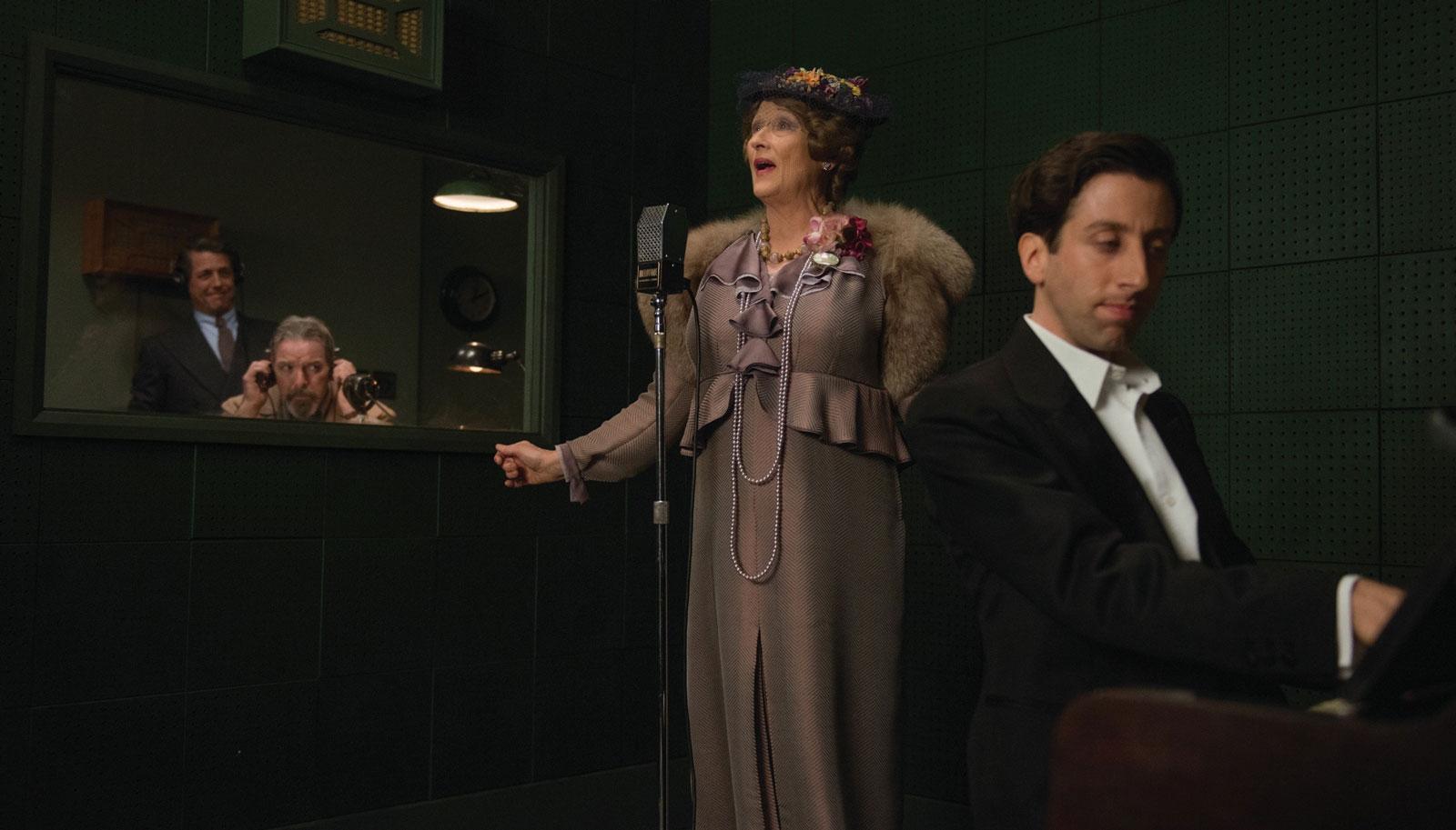 Hugh Grant, Lloyd Hutchinson, Meryl Streep, and Simon Helberg in Stephen Frears's <em>Florence Foster Jenkins</em>, 2016
