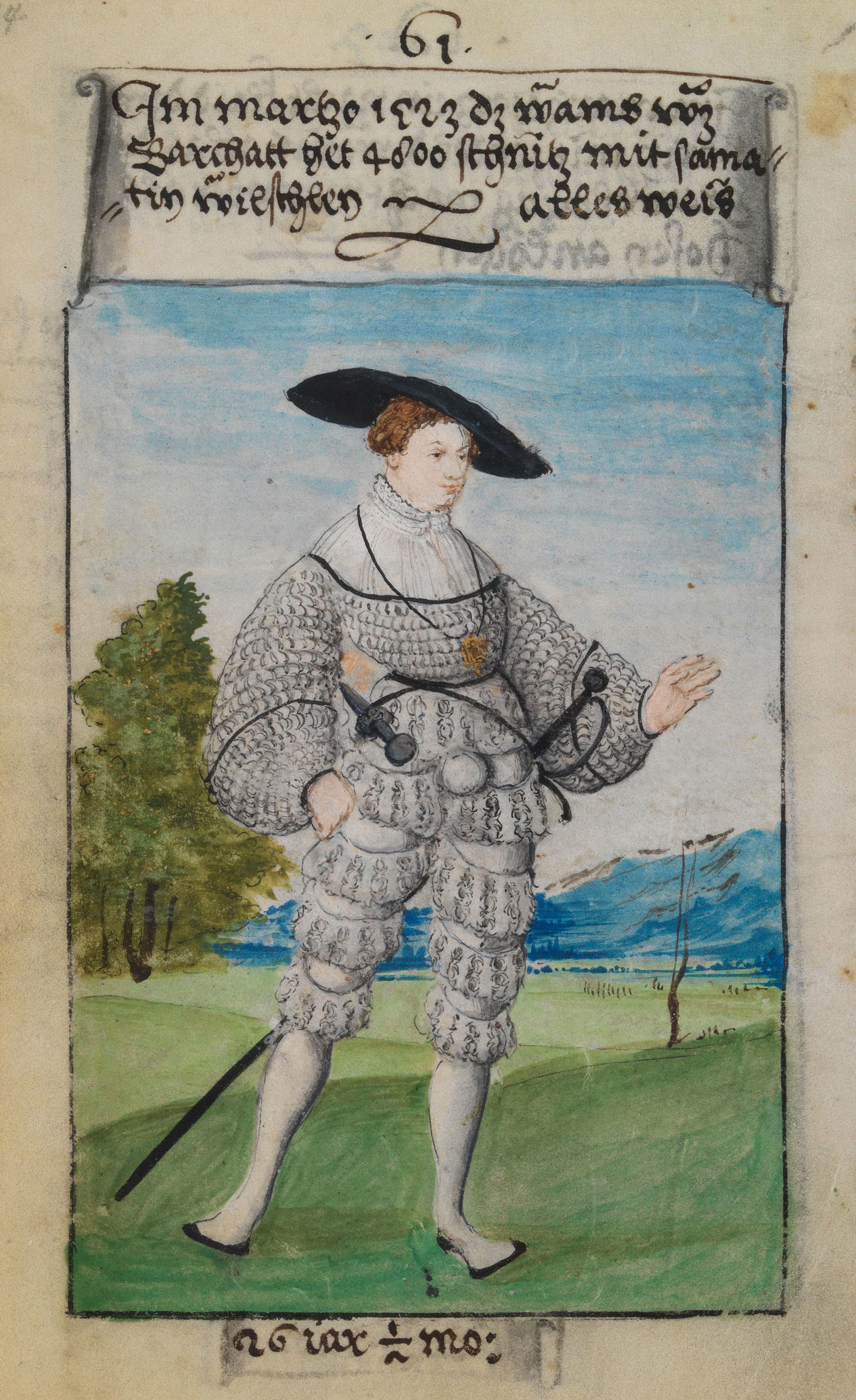 """A page from The First Book of Fashion; the text above reads, """"In March 1523. The doublet of fustian, which has 4,800 slashes with velvet rolls all in white,"""" and the text below, """"26 years. 1/2 month."""""""