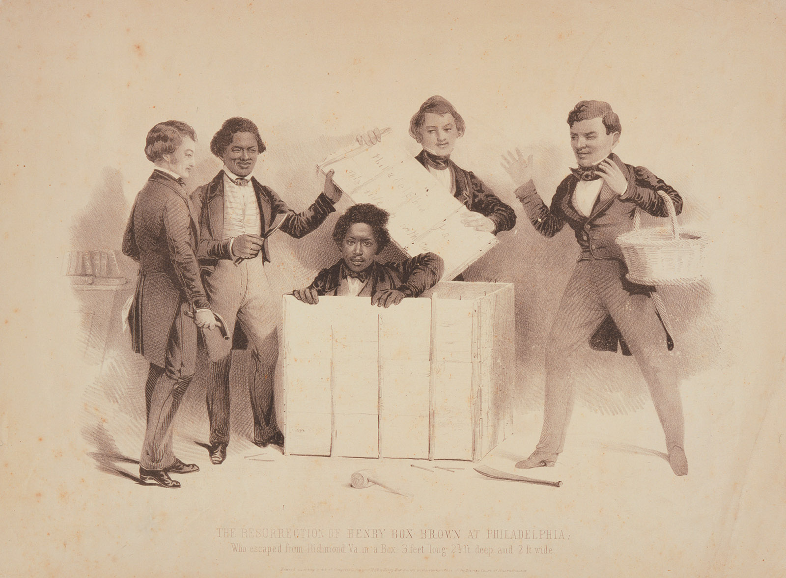 Samuel Worcester: The Resurrection of Henry Box Brown at Philadelphia, 1850. Brown shipped himself from Virginia to abolitionists in Philadelphia. His slave narrative was soon published, and he became a successful lecturer and performer.