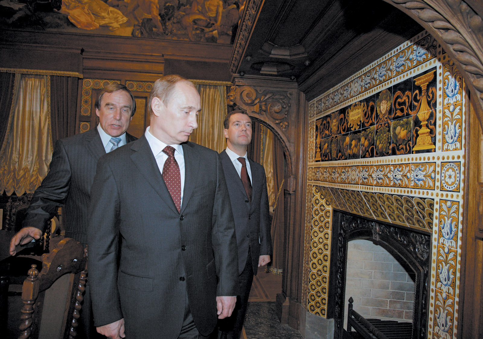 The cellist Sergei Roldugin, left, with Vladimir Putin and Dmitry Medvedev at the St. Petersburg House of Music, November 2009. The Panama Papers show that Roldugin, one of Putin's old friends, is linked to a number of offshore companies worth hundreds of millions of dollars.