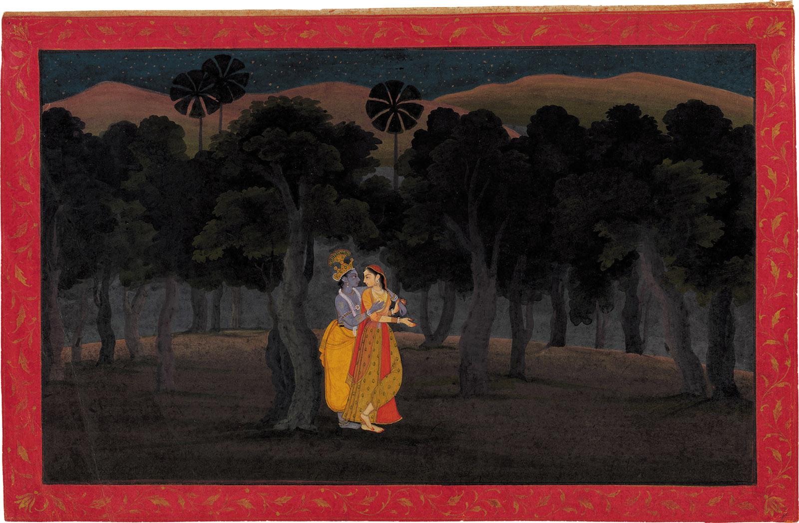 'The Lovers Radha and Krishna in a Palm Grove'; miniature painting from the 'Tehri Garhwal' Gita Govinda (Song of the Cowherds), Punjab Hills, kingdom of Kangra or Guler, circa 1775–1780