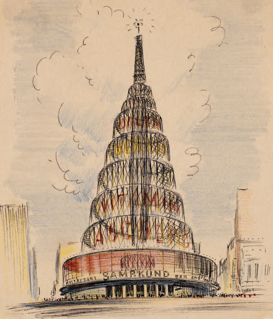 Ely Jacques Kahn's sketch of Dowling Theater, 1945; the layer-cake superstructure doubles as a marquee