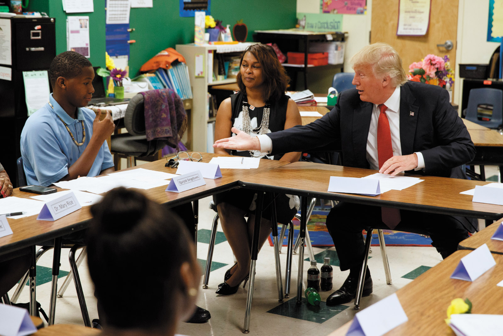 Donald Trump with students and educators at the Cleveland Arts and Social Sciences Academy, a for-profit charter school, before giving a speech on school choice, September 2016
