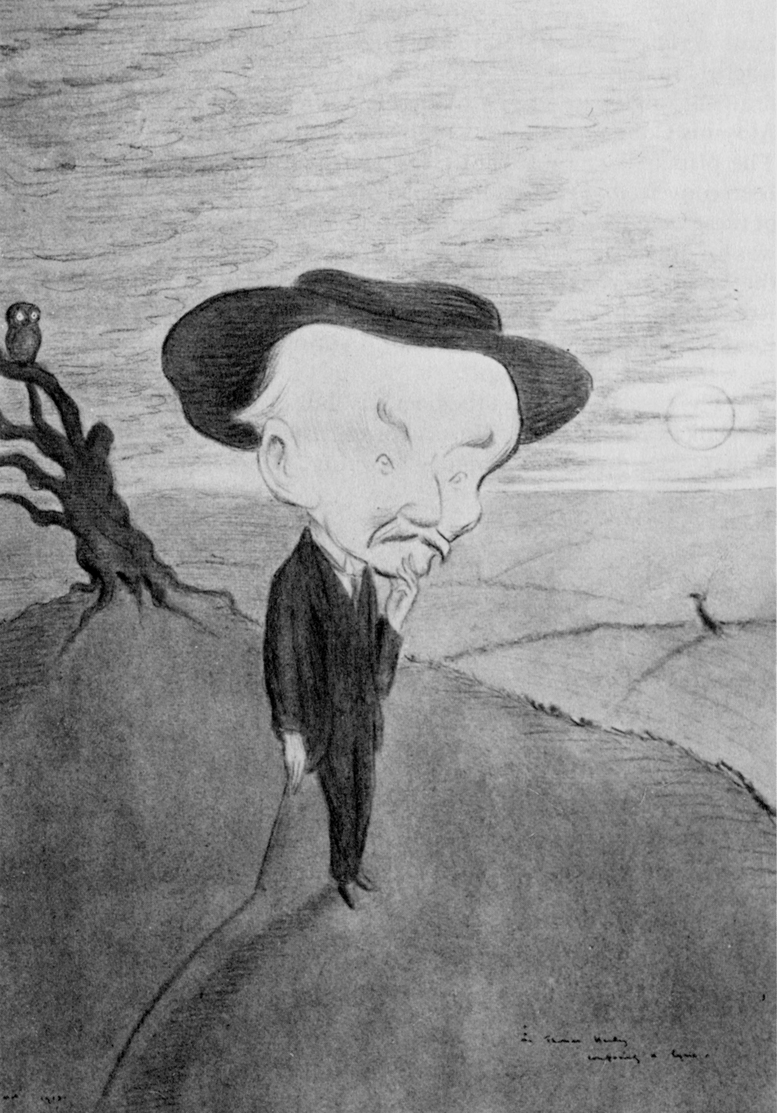 'Mr. Thomas Hardy composing a lyric'; drawing by Max Beerbohm, 1913