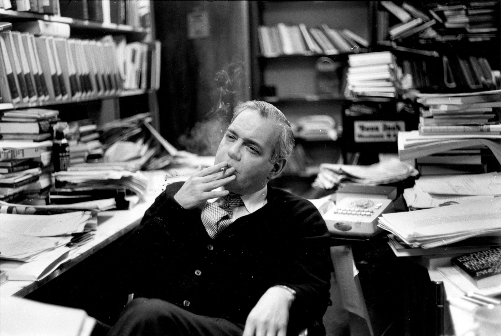 Robert B. Silvers in his office at The New York Review of Books, early 1980s