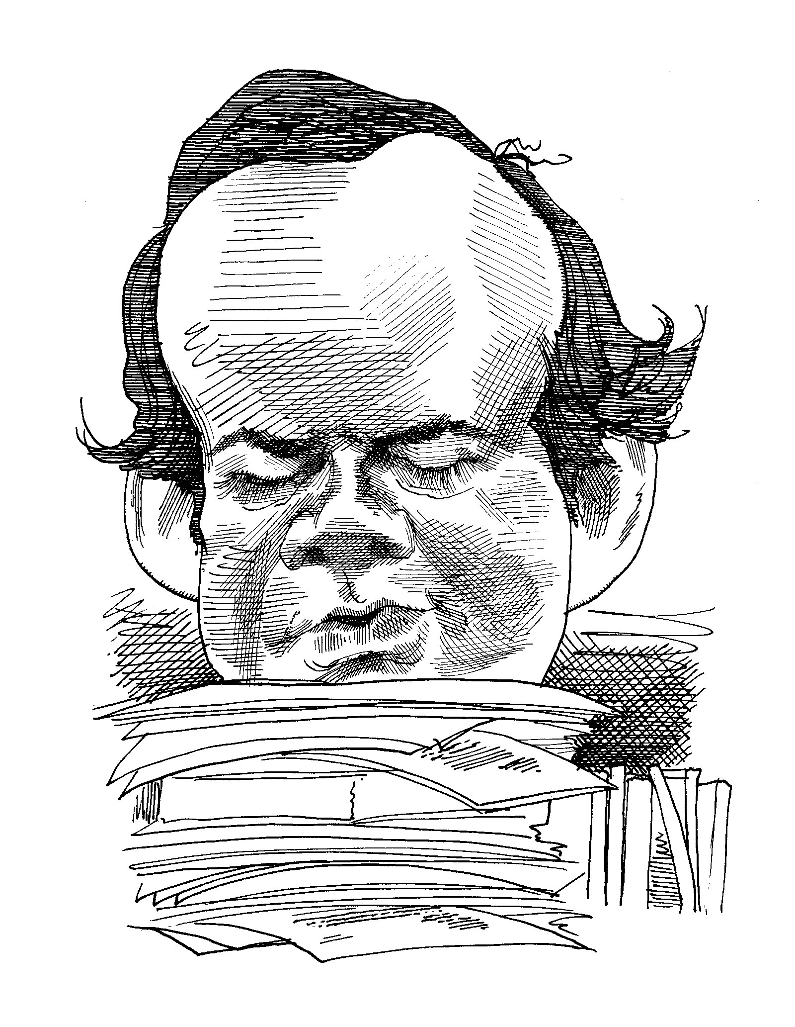 Robert Silvers; drawing by David Levine