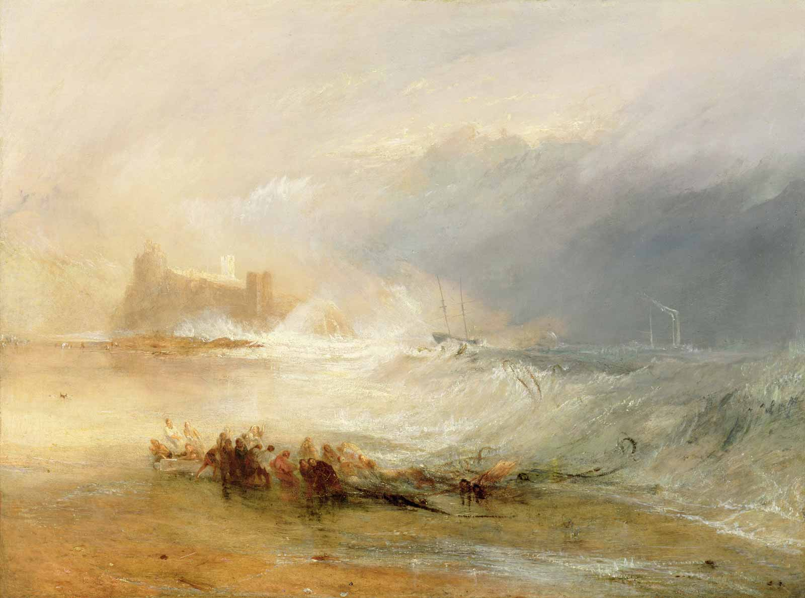 J.M.W. Turner: Wreckers—Coast of Northumberland, with a Steam-Boat Assisting a Ship off Shore, 1834