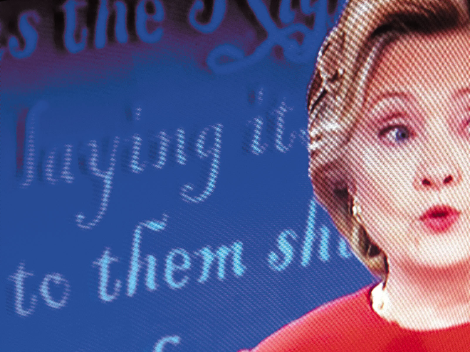 Hillary Clinton on television during her first presidential debate with Donald Trump, Hofstra University, Hempstead, New York, September 2016
