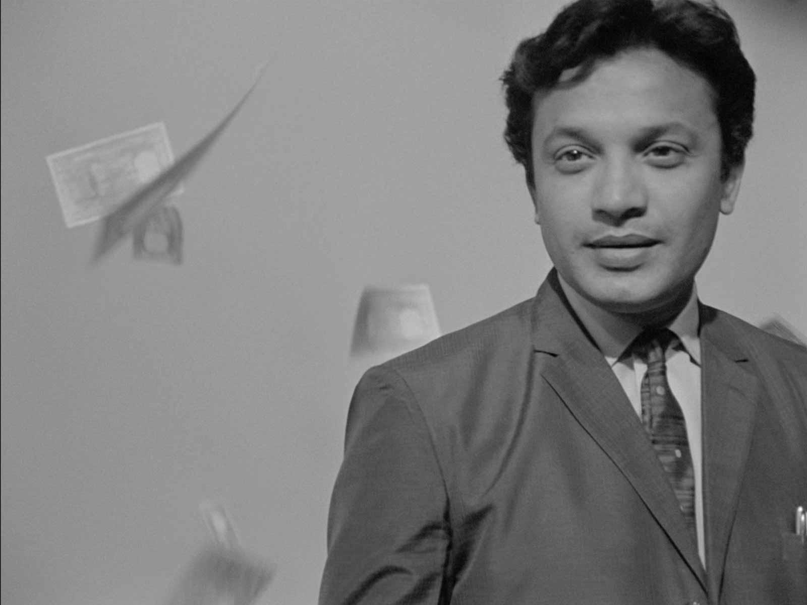 Uttam Kumar as Arindam Mukherjee in Satyajit Ray's The Hero, 1966