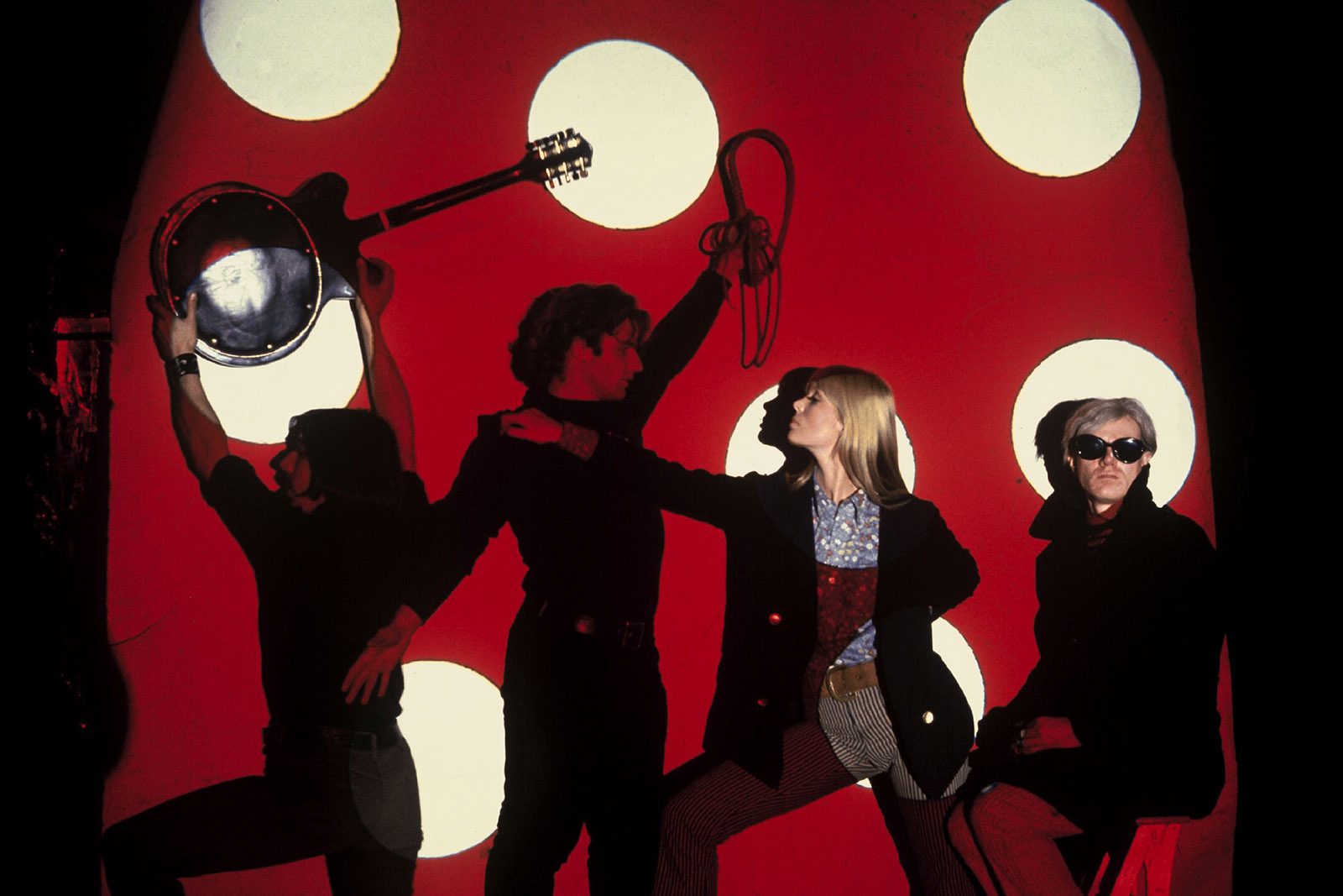 Members of the Velvet Underground John Cale and Nico, with Gerard Malaga and Andy Warhol, in New York City, circa 1966