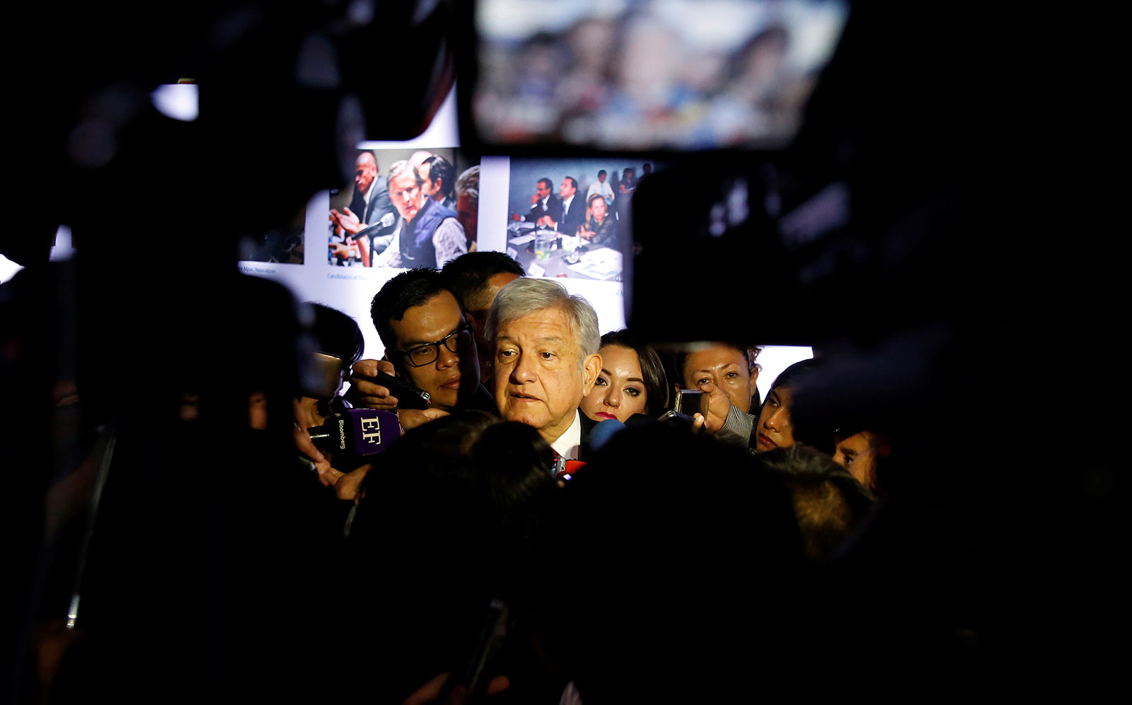 Presidential candidate Andrés Manuel López Obrador speaking to the press in Mexico City, on March 7, 2018