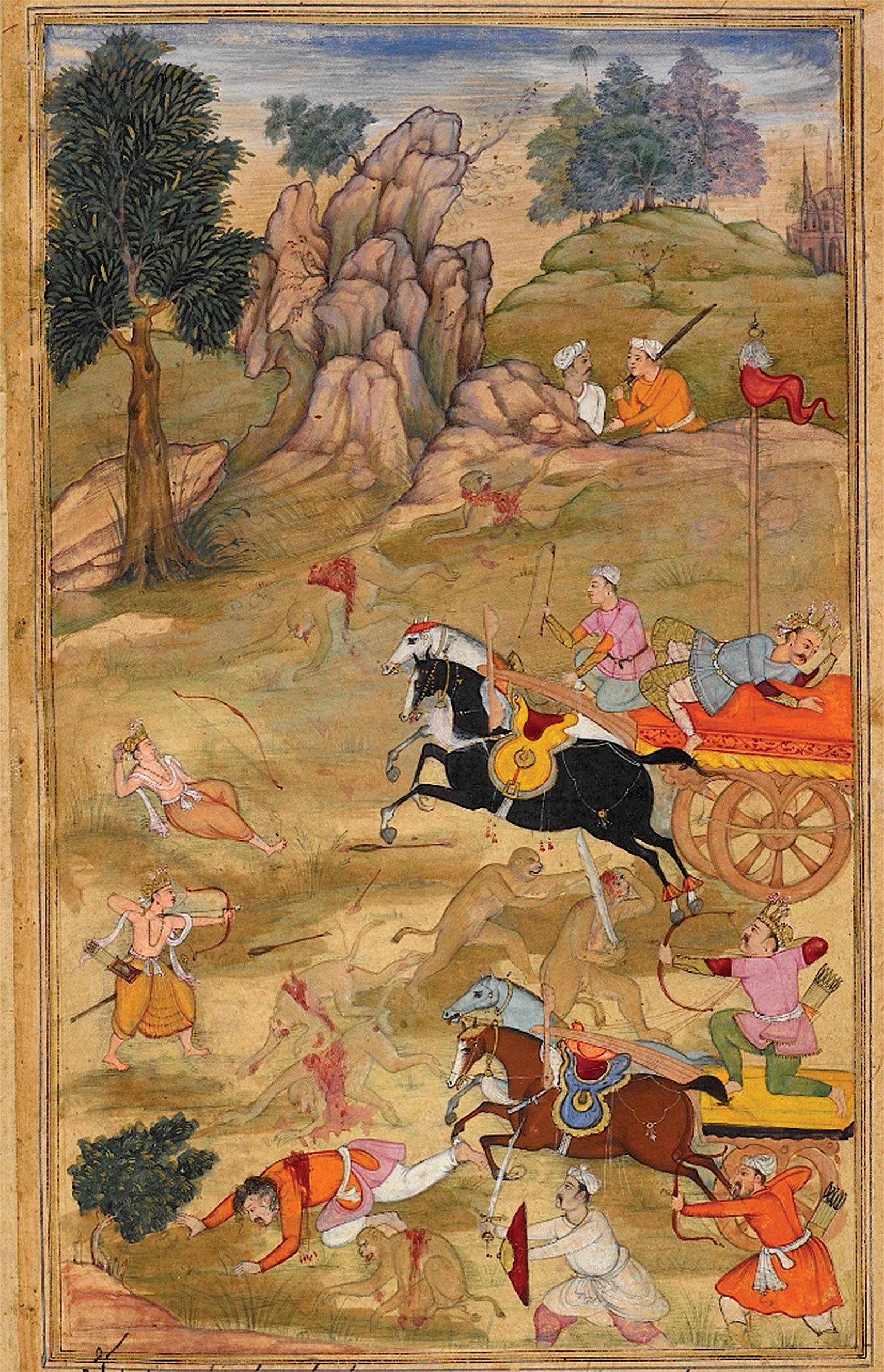 'Kusa and Lava defeating Bharata, Lakshmana, and the monkey army'; from the Razmnamah, a Persian translation of the Mahabharata, 1598