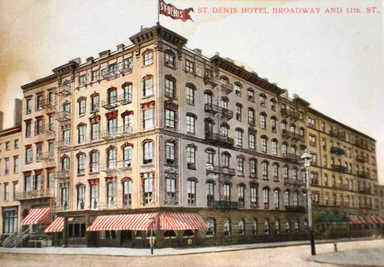 A postcard showing the St. Denis Hotel at Broadway and 11th Street, New York City, circa 1908