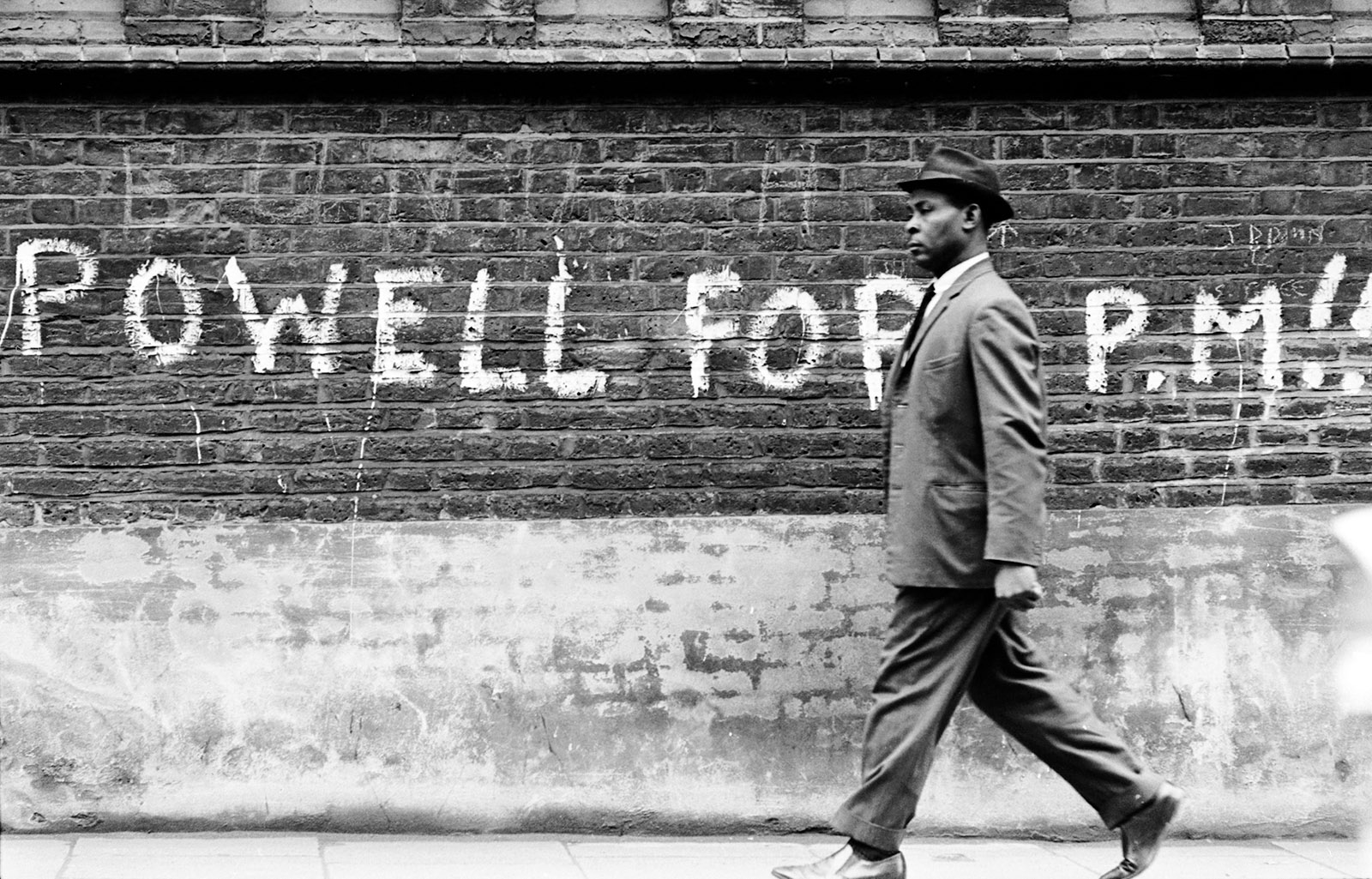 Graffiti expressing support for Enoch Powell after his inflammatory anti-immigration speech of April 20, 1968