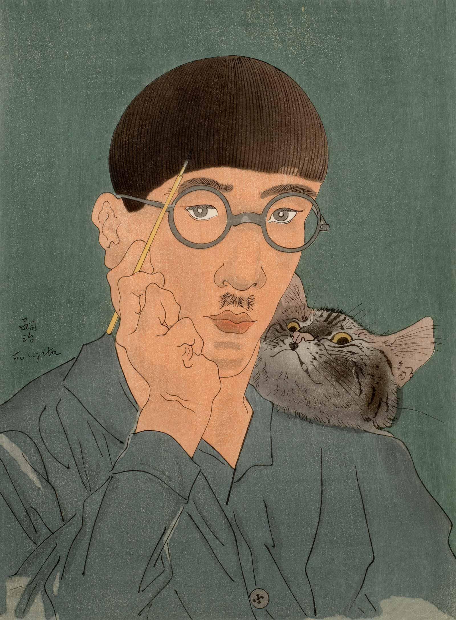Léonard Tsuguharu Foujita: Autoportrait au chat, 1927