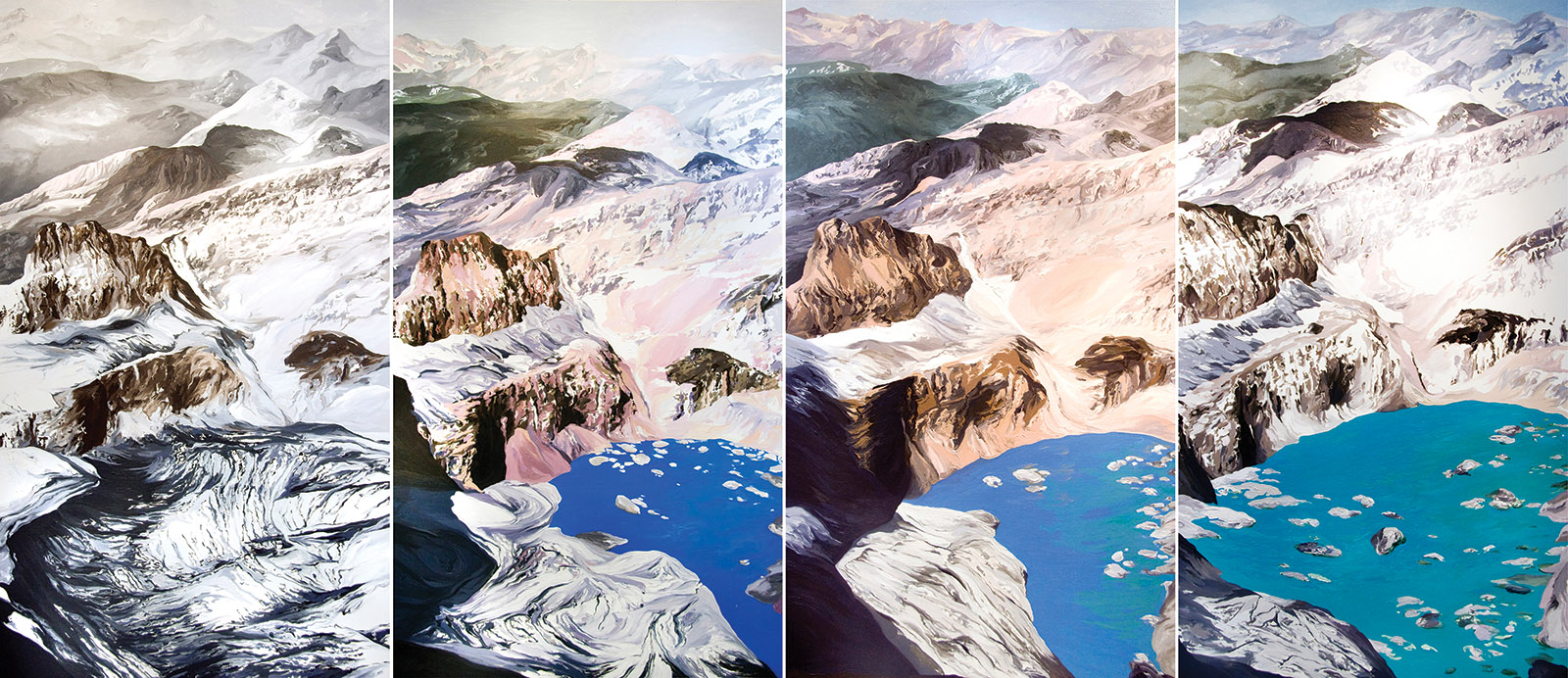Diane Burko: Grinnell Mt. Gould #1, #2, #3, #4, 2009; based on USGS photos of Grinnell Glacier at Glacier National Park, Montana, between 1938 and 2006. Burko's work is on view in 'Endangered: From Glaciers to Reefs,' at the National Academy of Sciences, Washington, D.C., until January 31, 2019. The accompanying book is published by KMW Studio.
