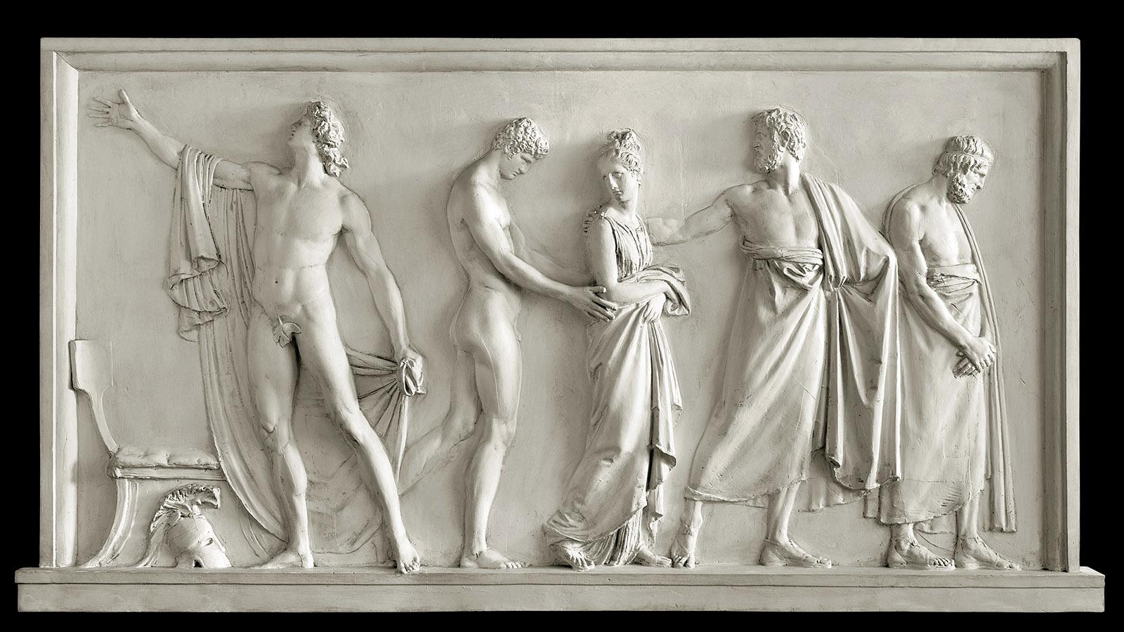 Achilles delivering Briseis to Agamemnon's heralds; bas-relief by Antonio Canova, circa 1787–1790