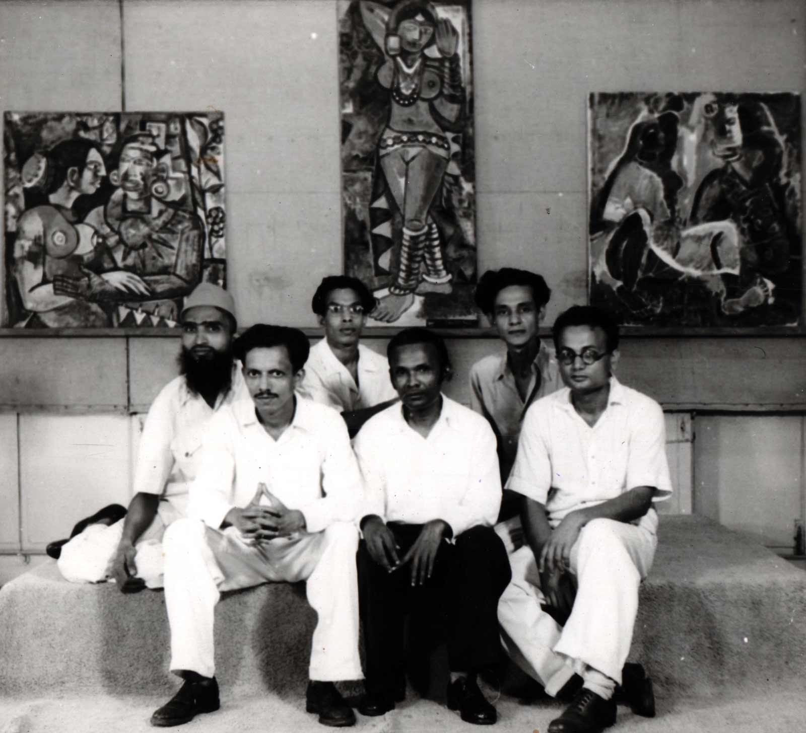 Photo from the Progressive Artists' Group exhibition, featuring (left to right) M. F. Husain, F. N. Souza, S. K. Bakre, K. H. Ara, S. H. Raza, H. A. Gade, 1949
