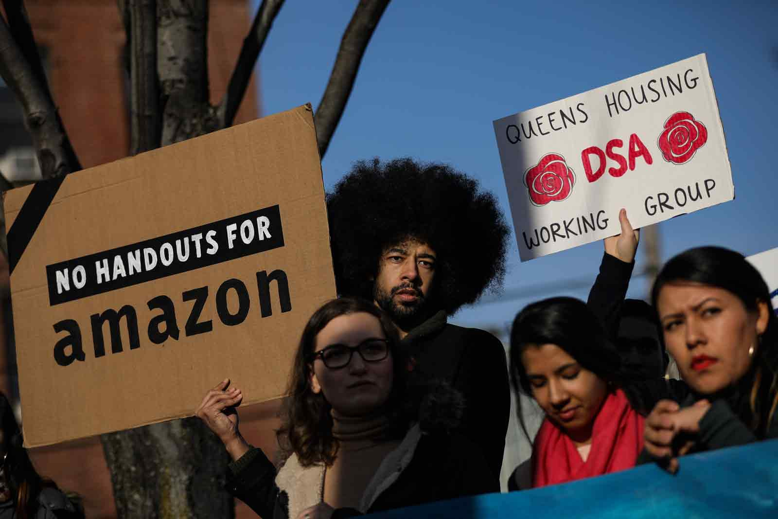 Activists and community members who opposed Amazon's plan to move into Queens rallying in celebration of Amazon's decision to pull out of the deal, Long Island City, Queens, February 14, 2019
