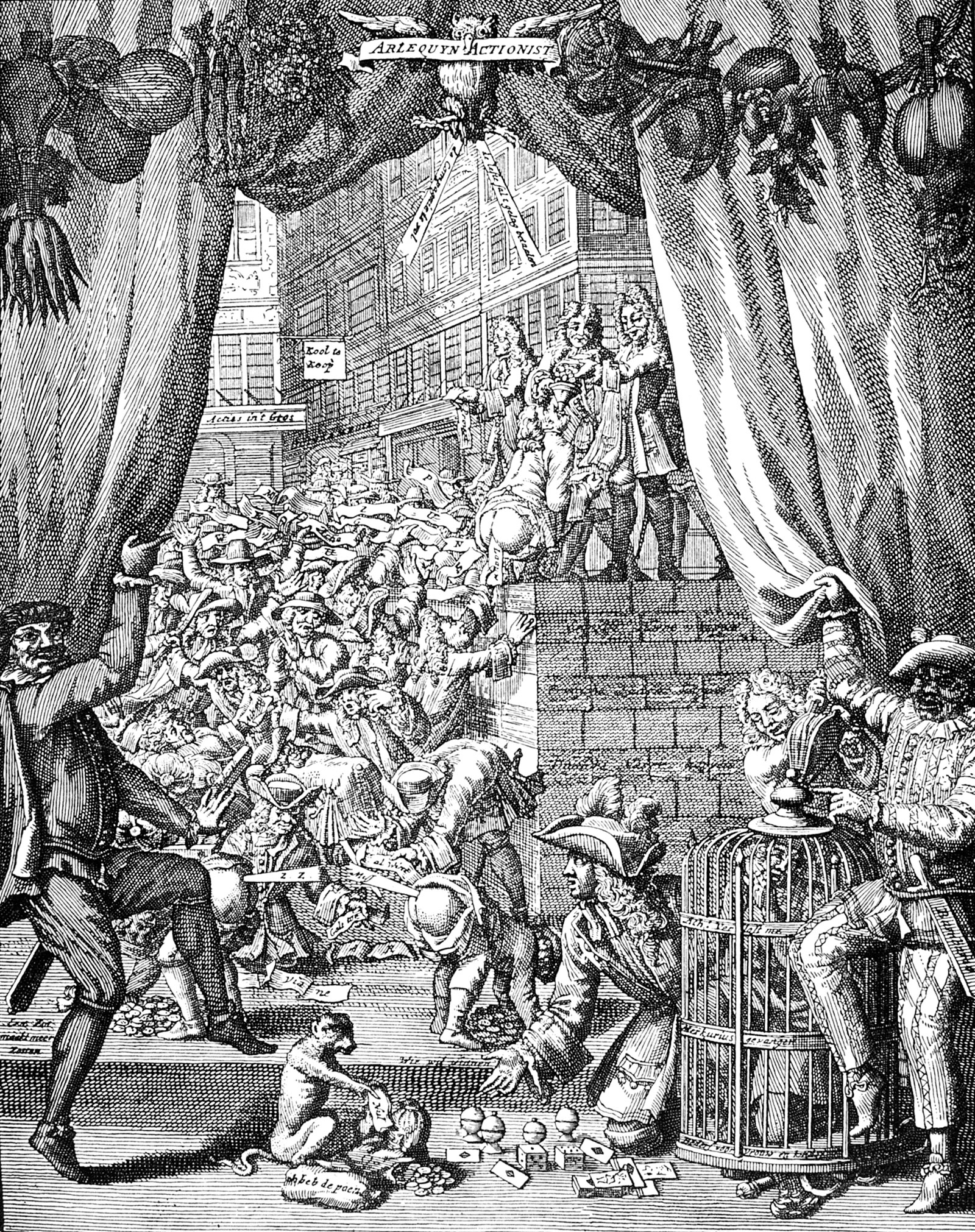A satirical engraving showing panic in Paris following the failure of John Law's financial scheme, 1720