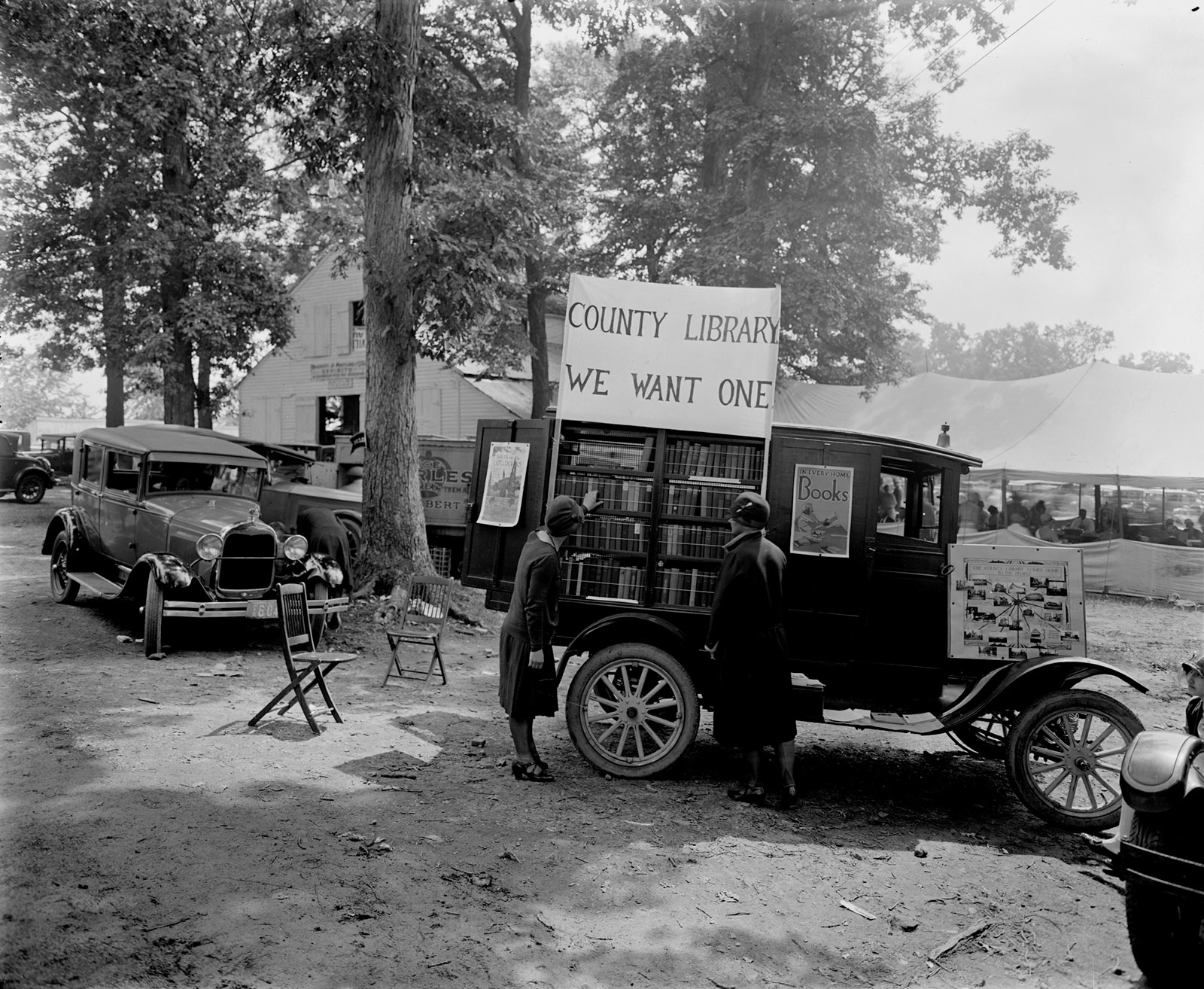 A bookmobile at the Rockville Fair in Maryland, 1928