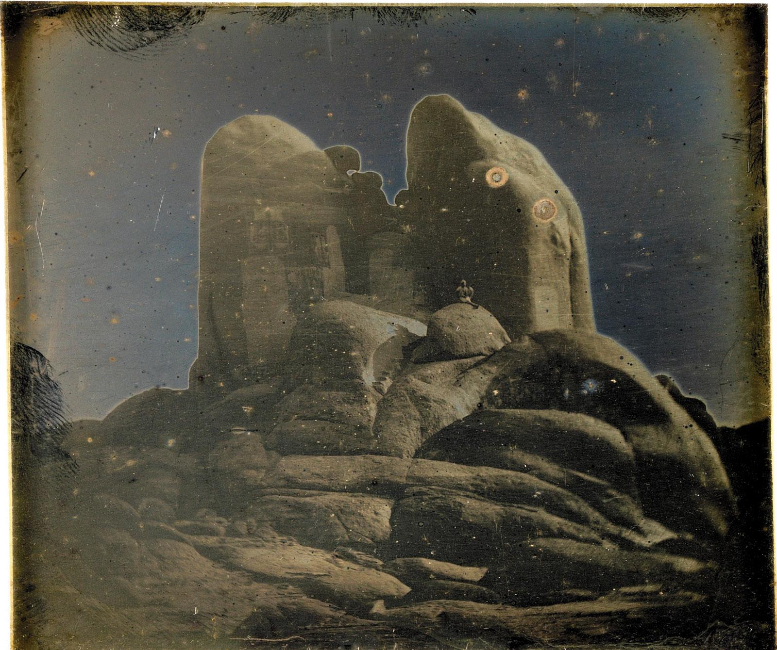 Rocks, Philae, Daguerreotype by Girault de Prangey