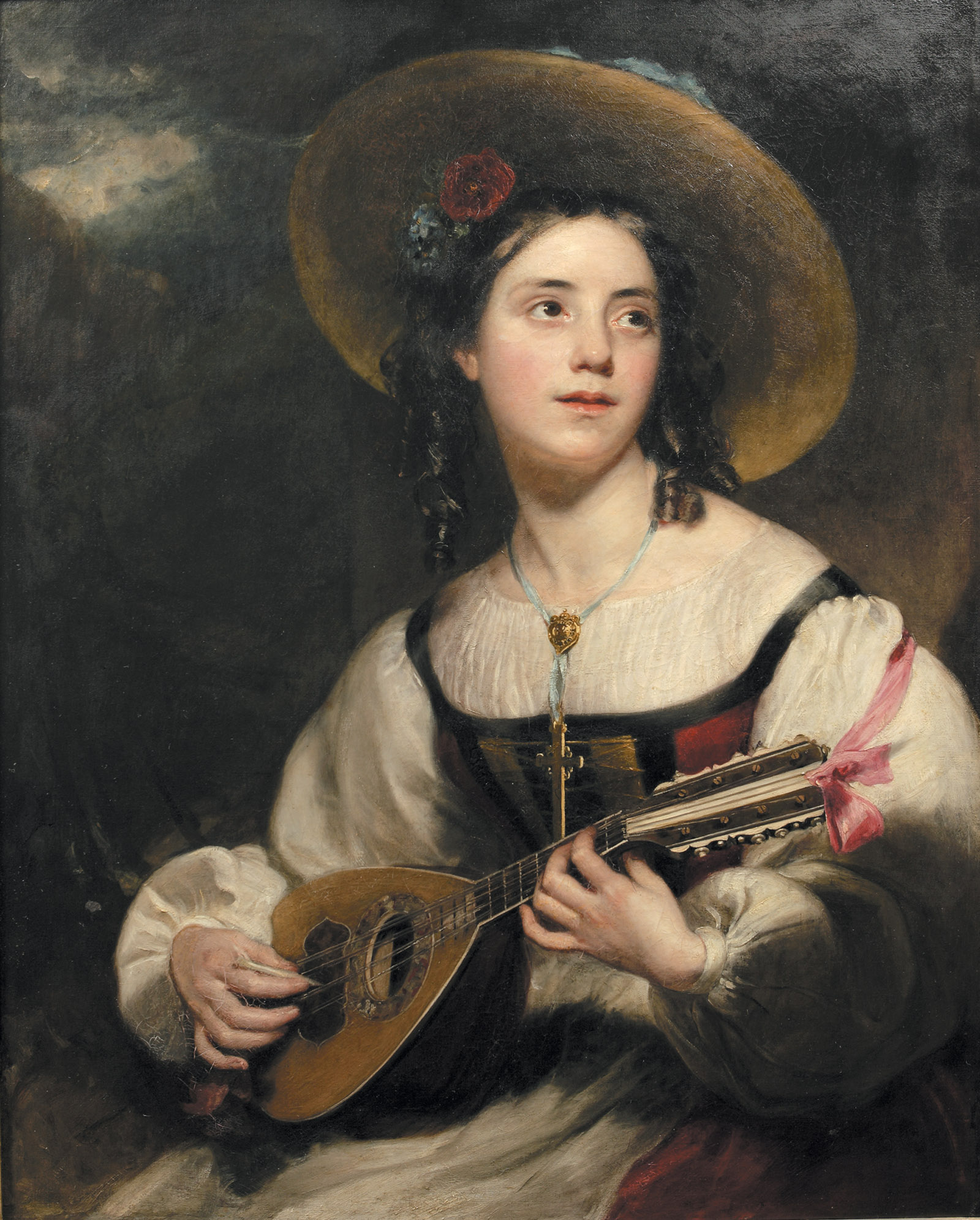 Henry William Pickersgill: The Minstrel of Chamouni, 1828. In L.E.L., Lucasta Miller writes that this painting 'represented...an attempt to desexualize' Letitia Elizabeth Landon 'while keeping her in the fancy-dress realm of romance.'