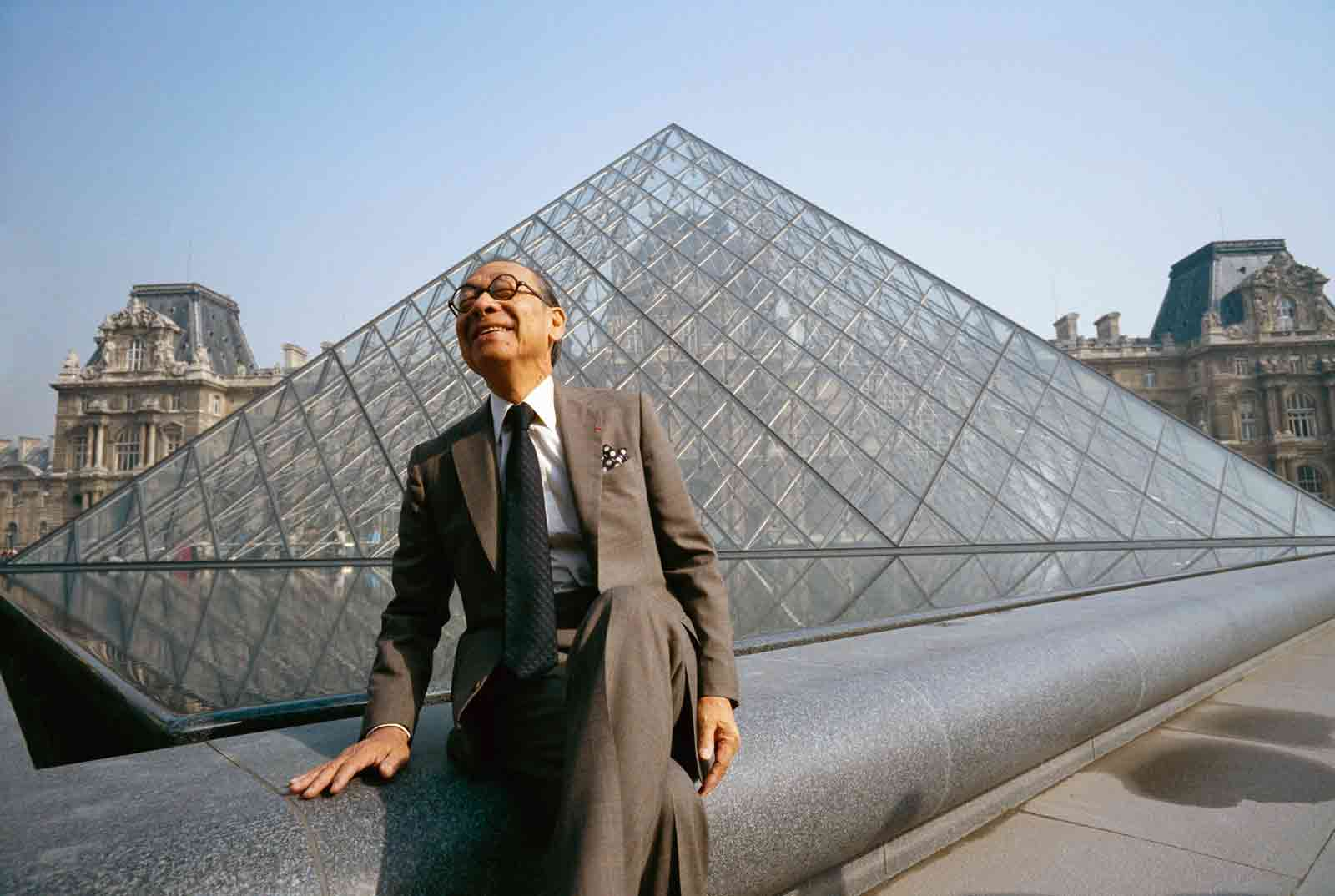 Architect I.M. Pei near his Pyramid Entrance at the Louvre Museum, at its opening, Paris, March 29, 1989