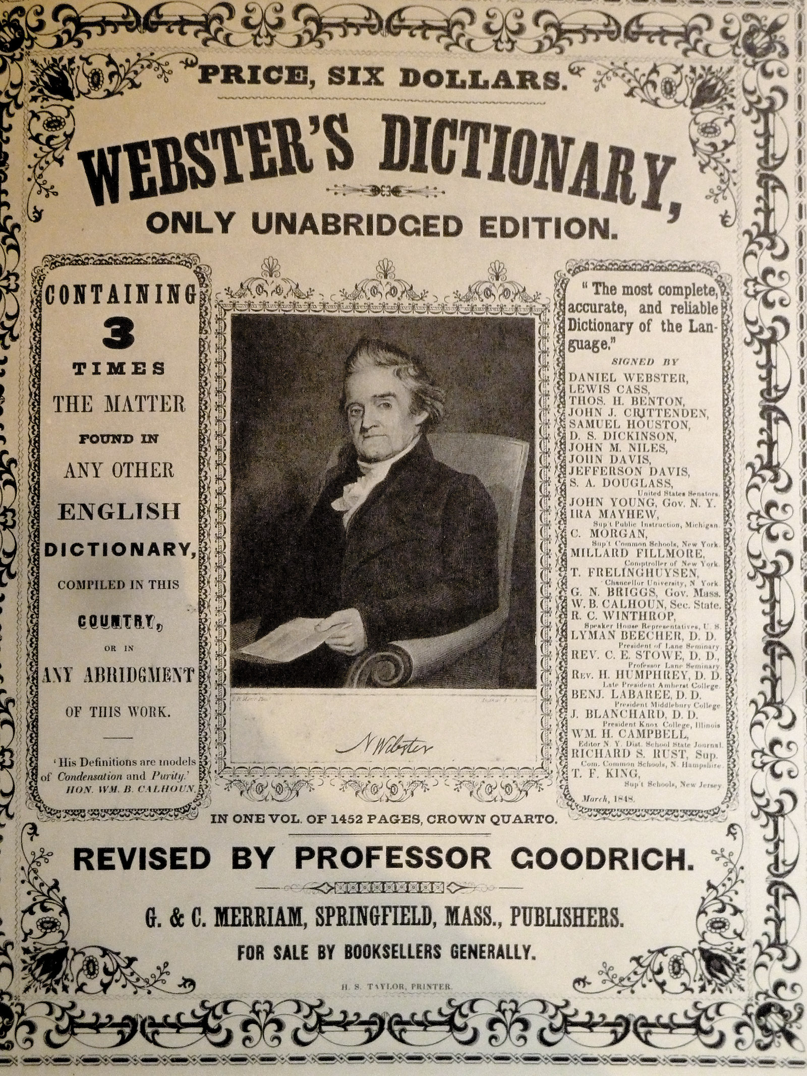 Noah Webster in an advertisement for Webster's dictionary, 1847–1848