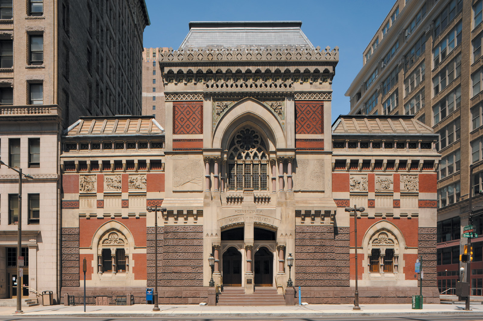 The front façade of the Pennsylvania Academy of the Fine Arts, Philadelphia; designed by Frank Furness, 1871–1876