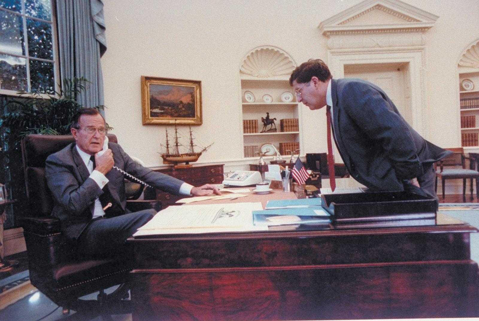 President George H.W. Bush and John Sununu, at the White House, 1990