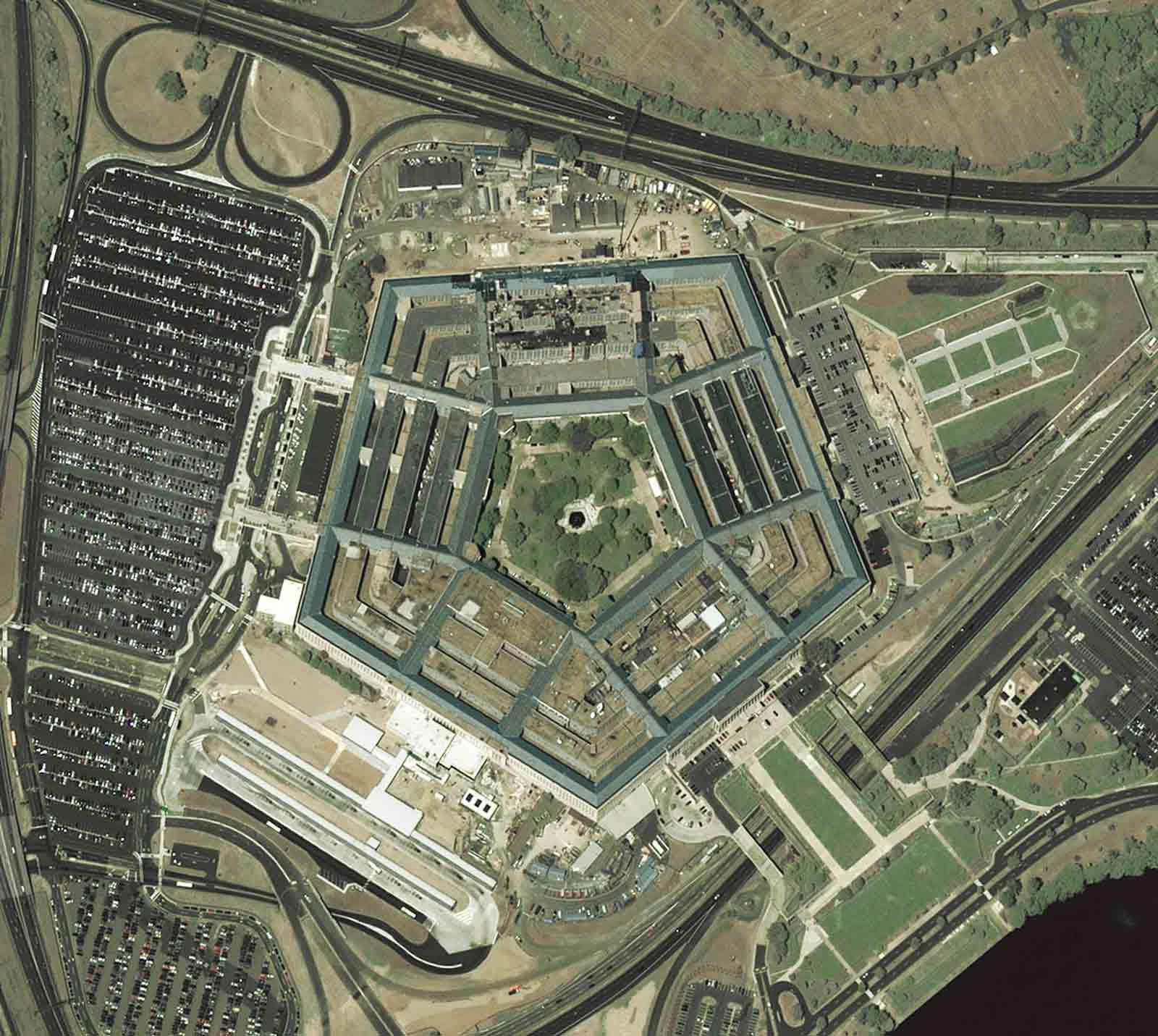 A satellite image of the Pentagon, Washington, D.C., August 2, 2002