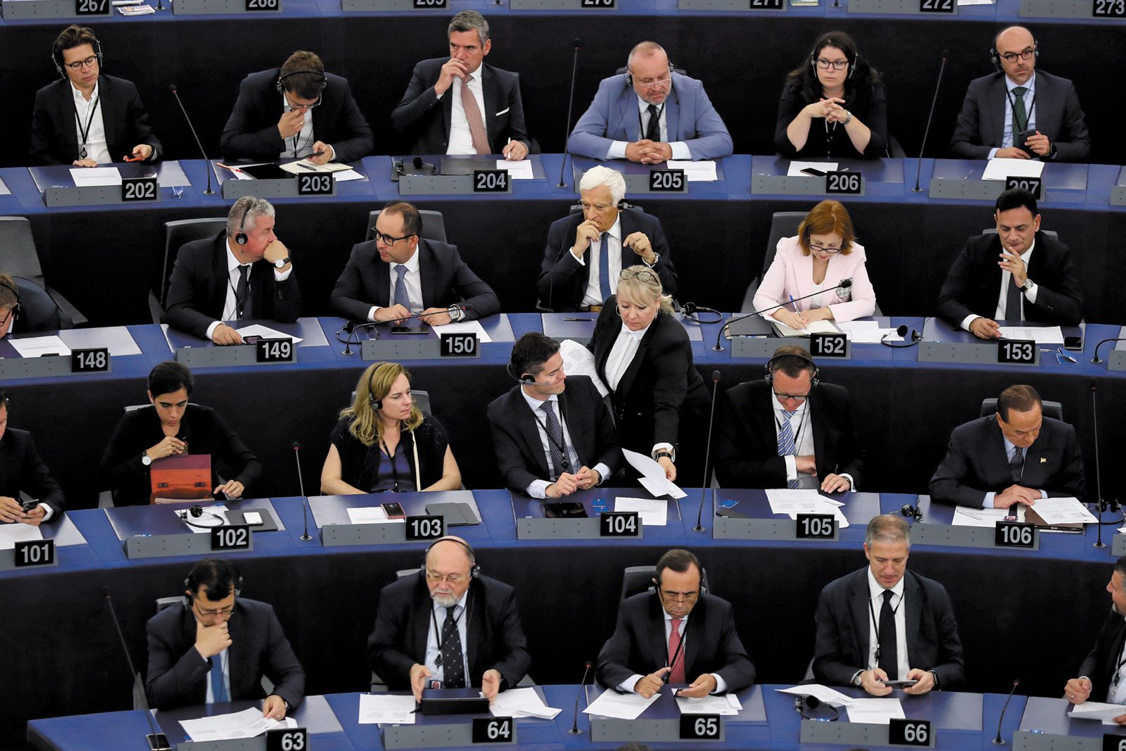 Members of the European Parliament in a plenary session to elect their new president, Strasbourg, July 3, 2019