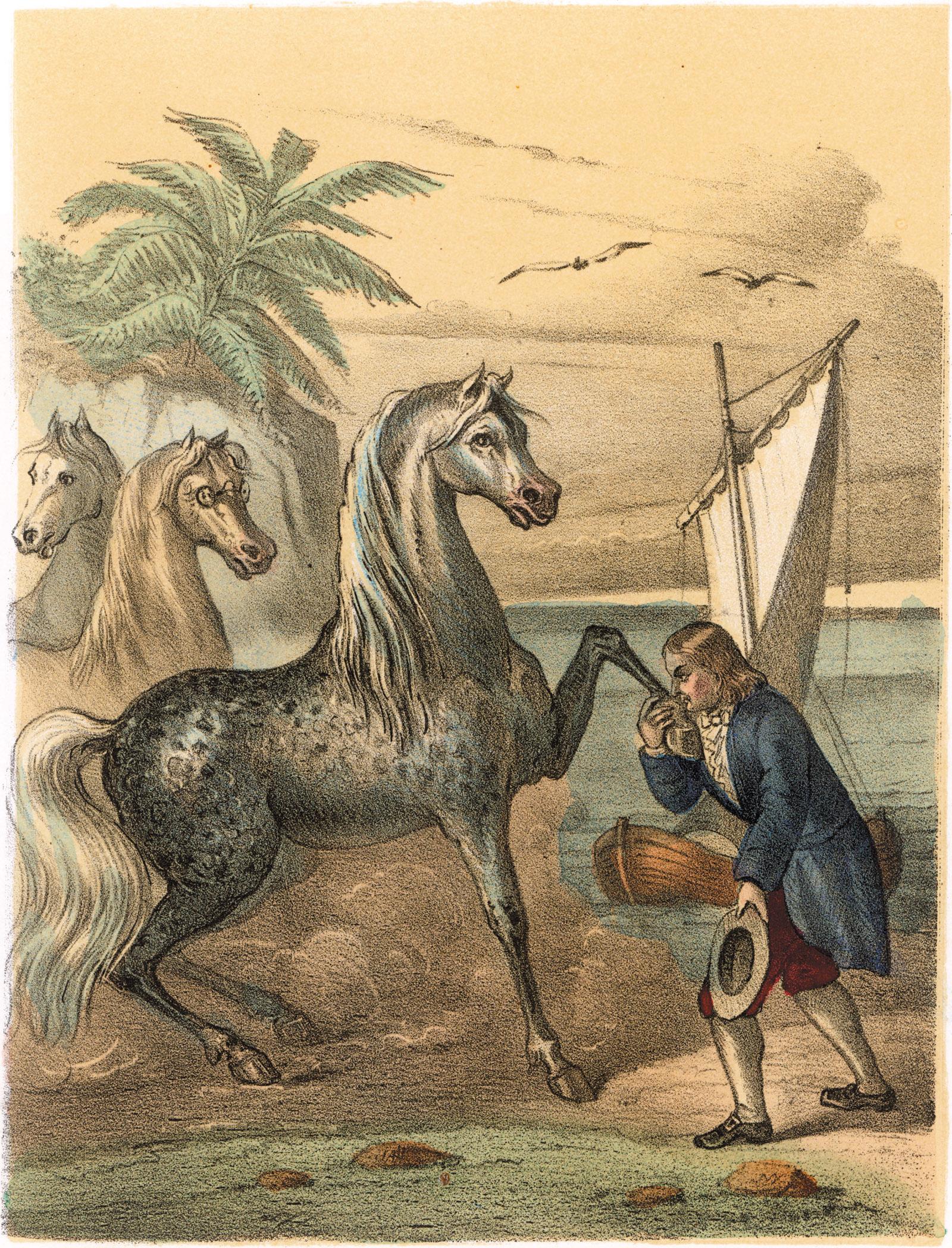Gulliver leaving Houyhnhnms, illustration from Jonathan Swift's Gulliver's Travels