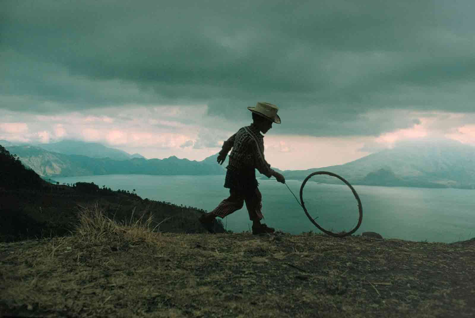 A boy playing near Lake Atitlán, in the highlands of Sierra Madre, Guatemala, 1975