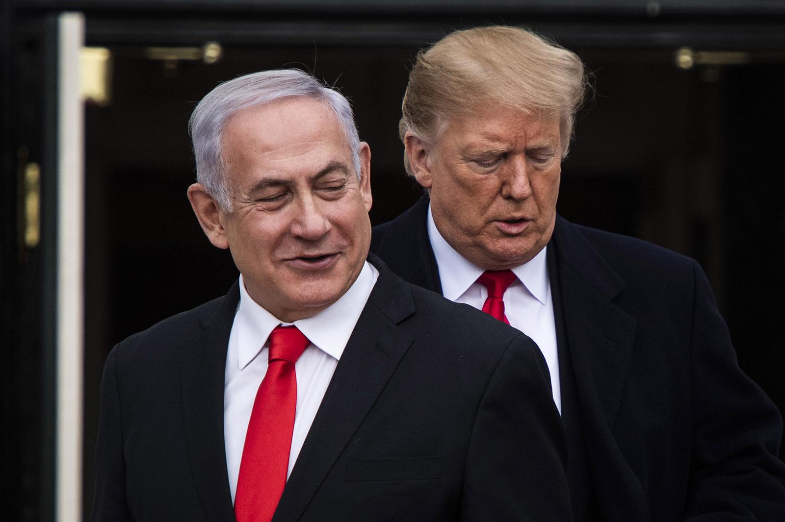 Israeli Prime Minister Benjamin Netanyahu with US President Donald Trump at the White House, Washington, D.C., March 25, 2019
