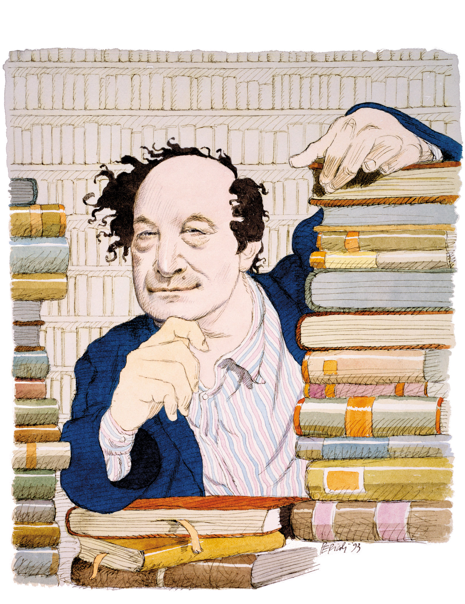 Roberto Calasso; drawing by Tullio Pericoli