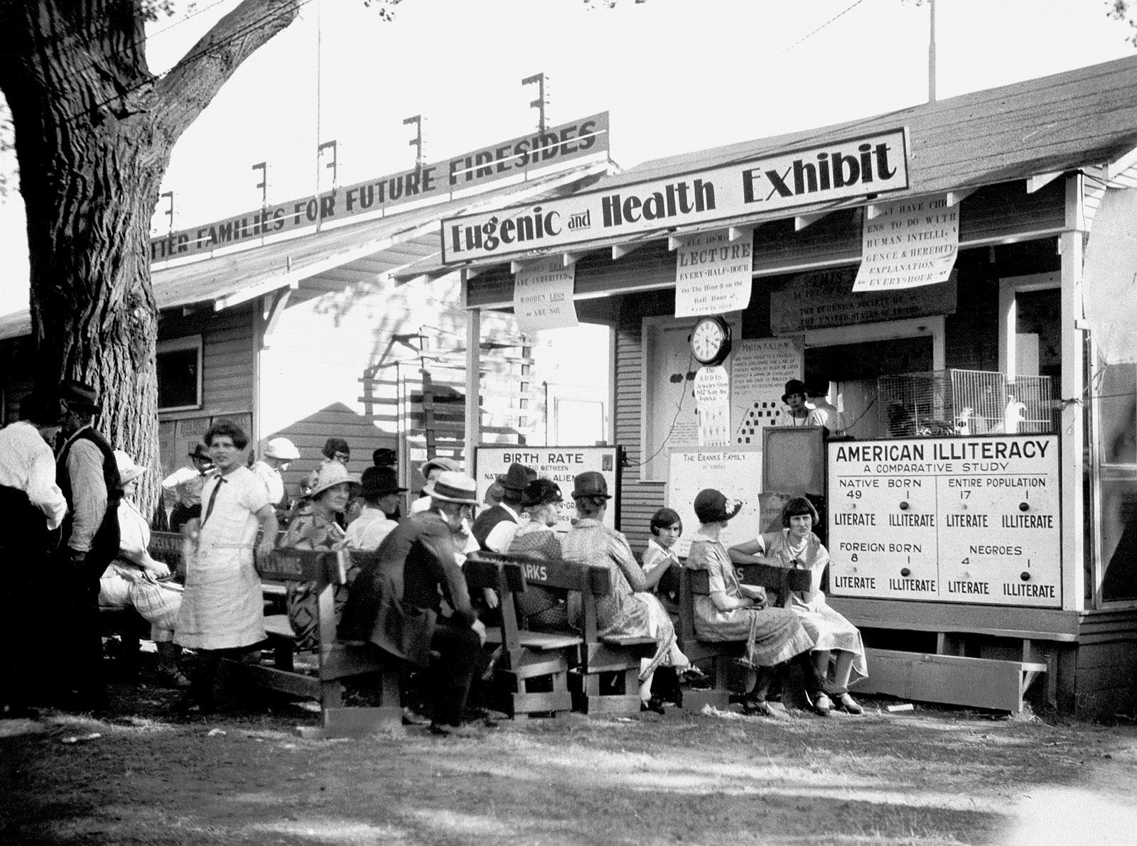 A presentation at a Kansas fair on the eugenic superiority of native-born white Americans, circa 1925