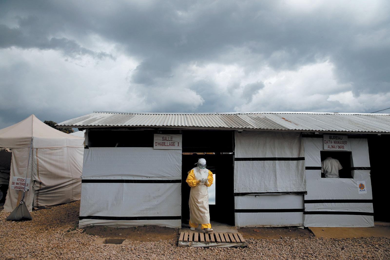 A health worker in an Ebola treatment center, Beni, North Kivu, Congo, May 2019