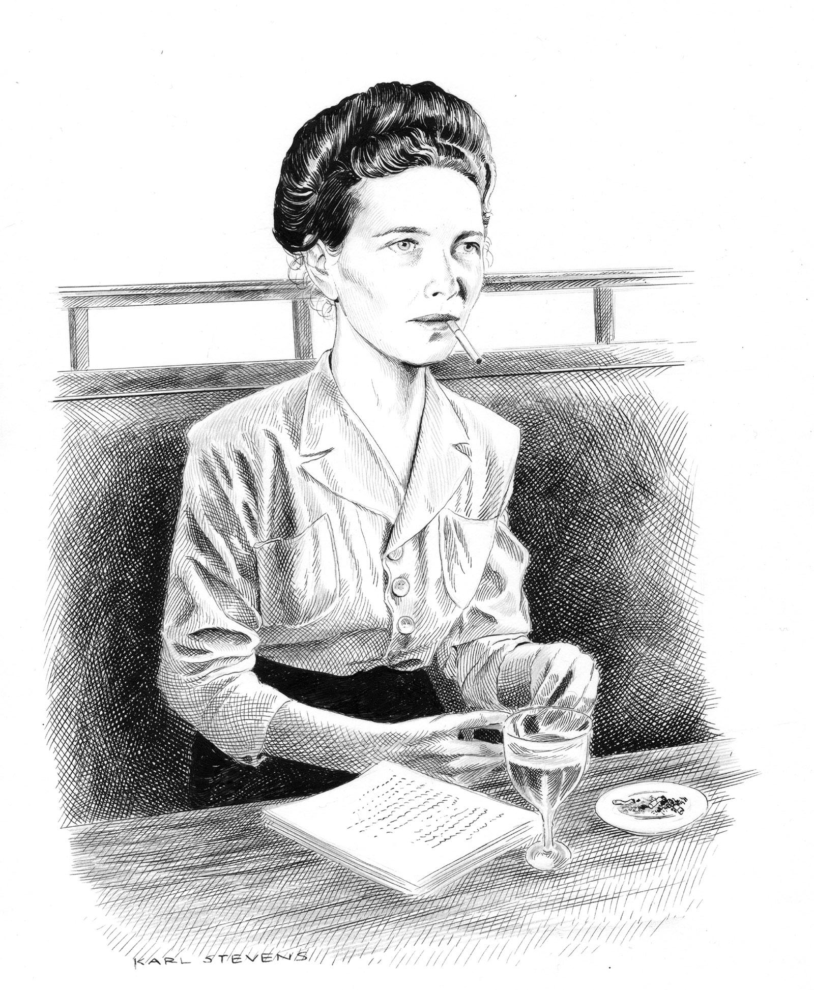 Simone de Beauvoir; drawing by Karl Stevens