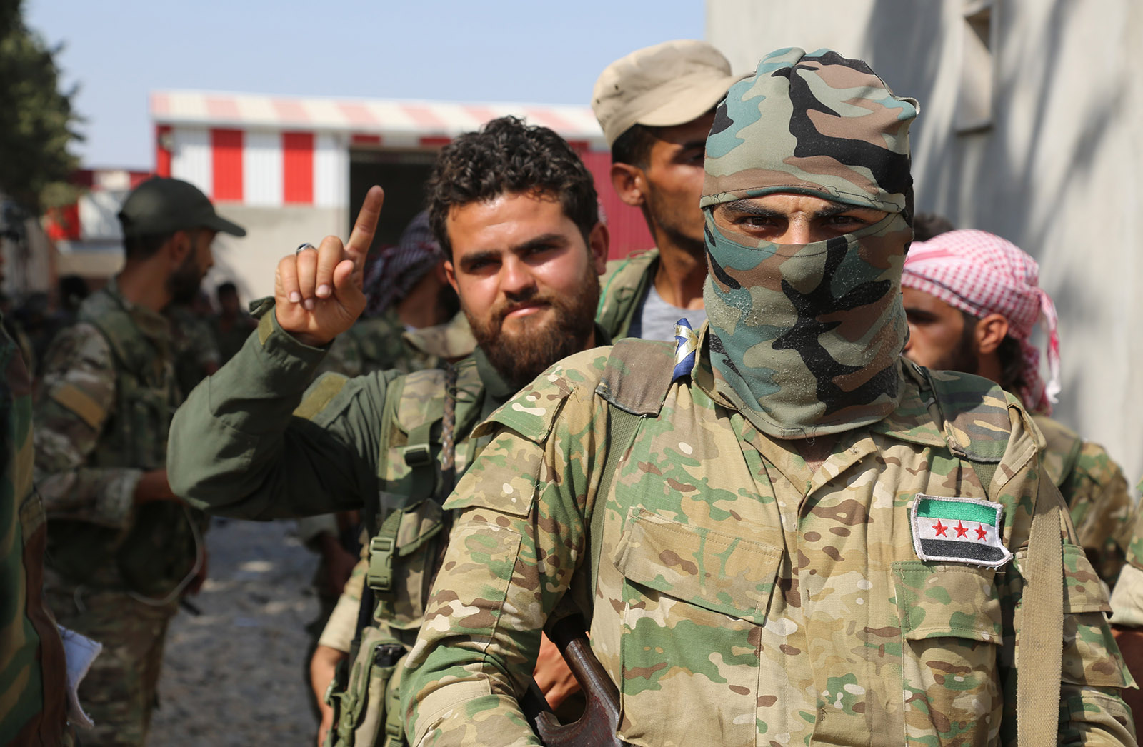 Members of the Syrian National Army participating in Turkey's Operation Peace Spring, Ras Al-Ayn district, northern Syria, October 13, 2019