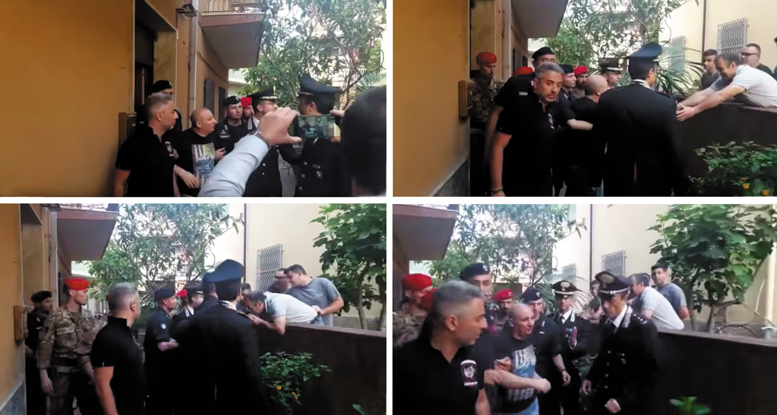 Stills from news footage of 'Ndrangheta boss Giuseppe 'The Goat' Giorgi during his arrest, showing him greeting local men and having his hand kissed in a typical mafia gesture of respect, San Luca, Calabria, June 2017