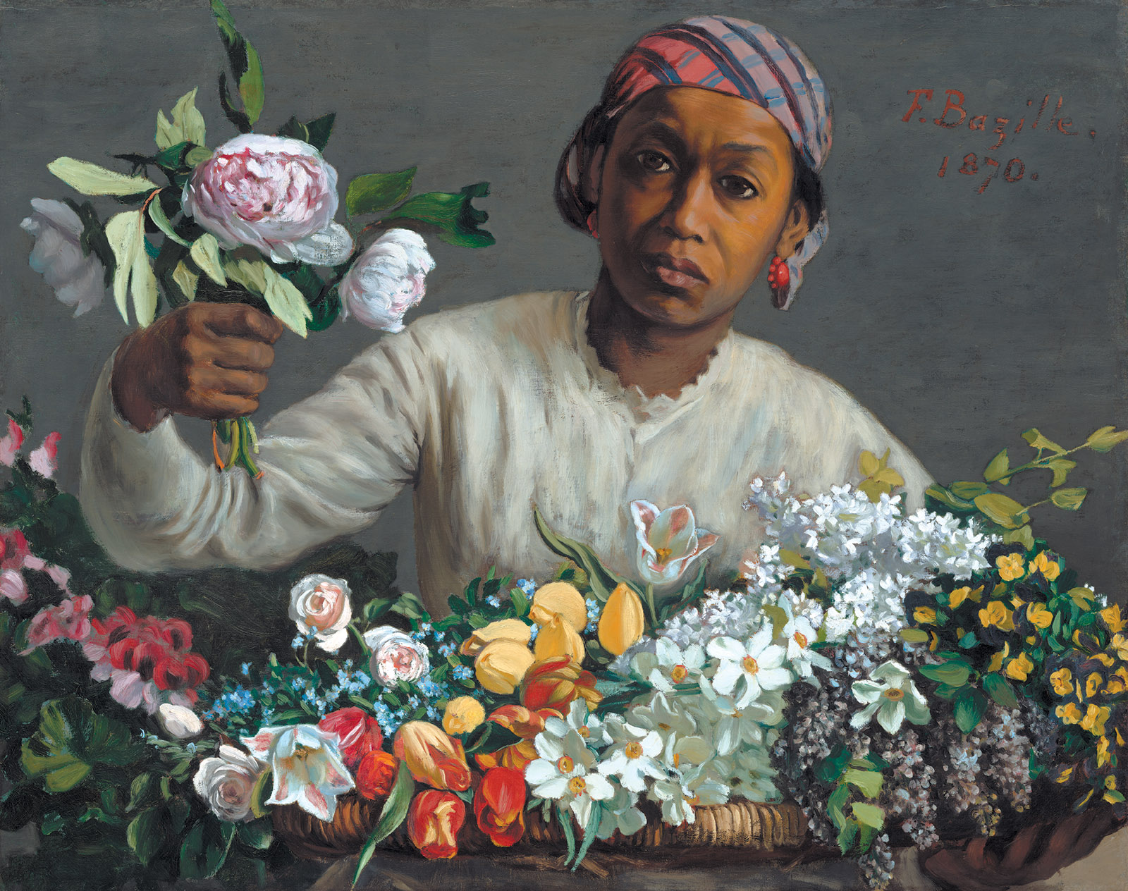 Frédéric Bazille's Young Woman with Peonies, 1870