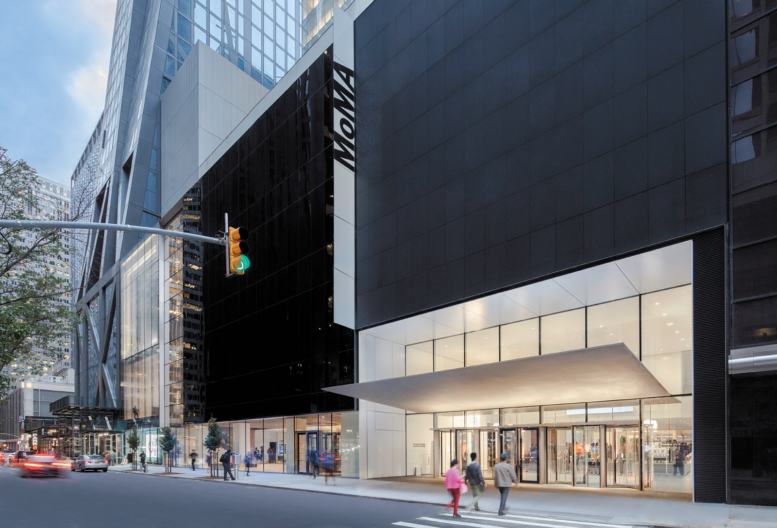 The exterior of the newly renovated MoMA, showing the expanded lobby and the base of 53W53, a new tower designed by Jean Nouvel, whose second through fifth floors are occupied by the museum, October 2019