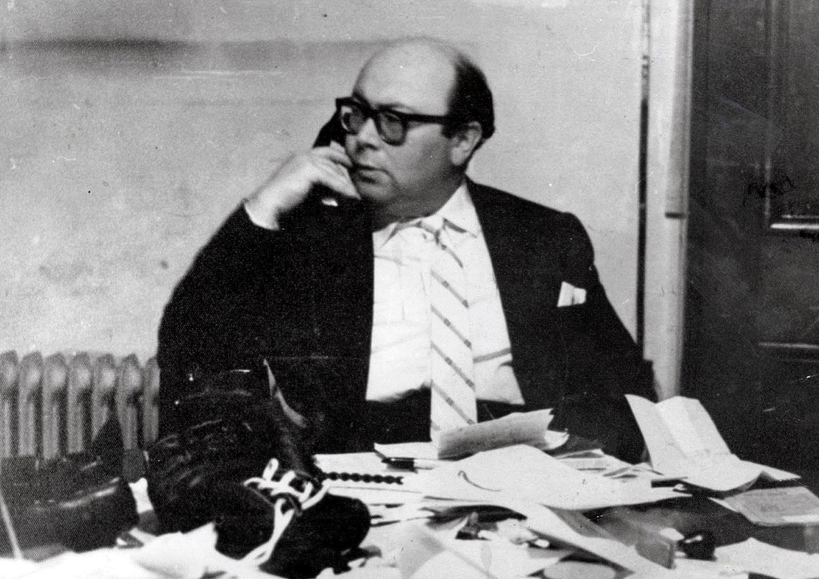 Businessman Peter Rachman at work, circa 1960