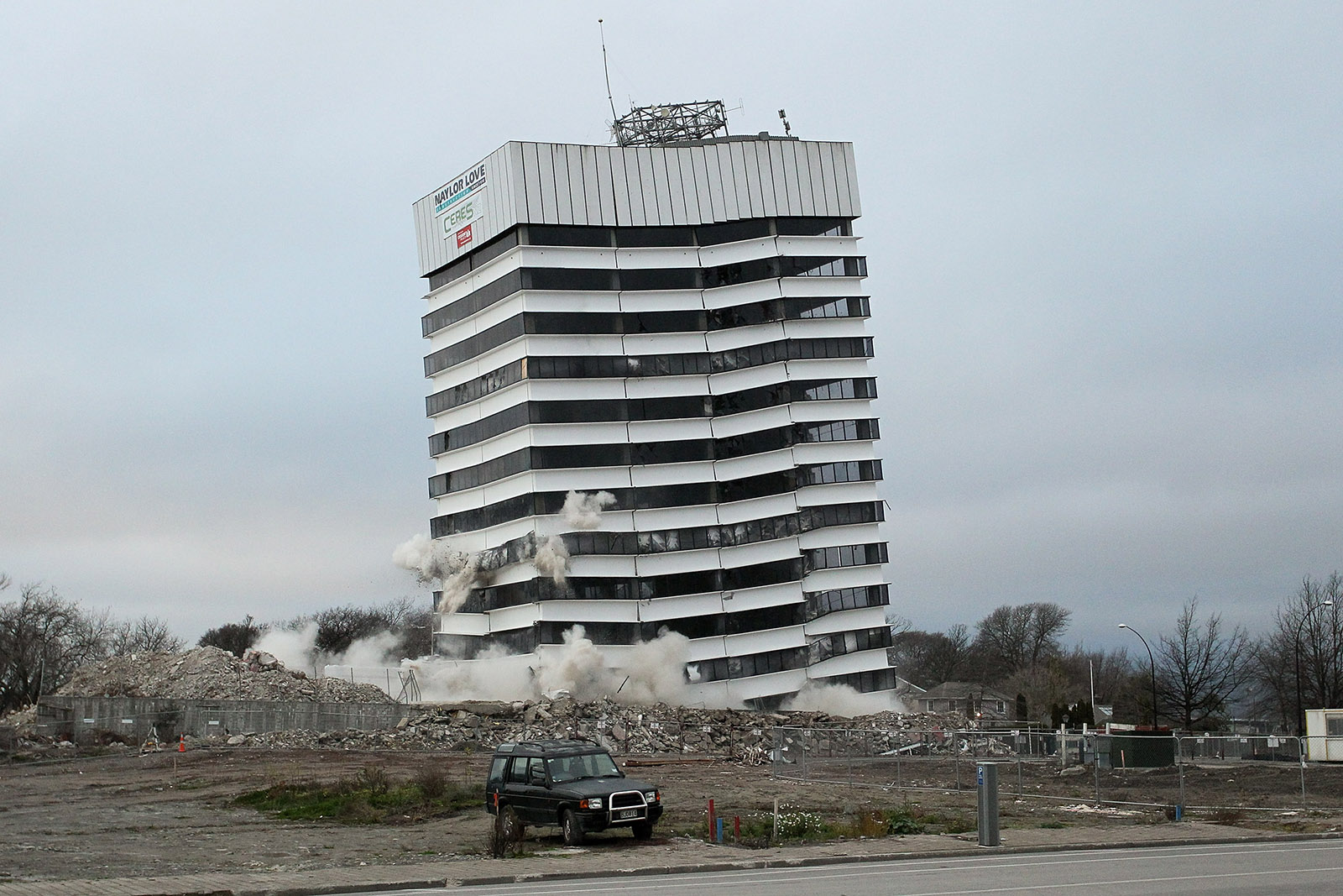 Collapsing building